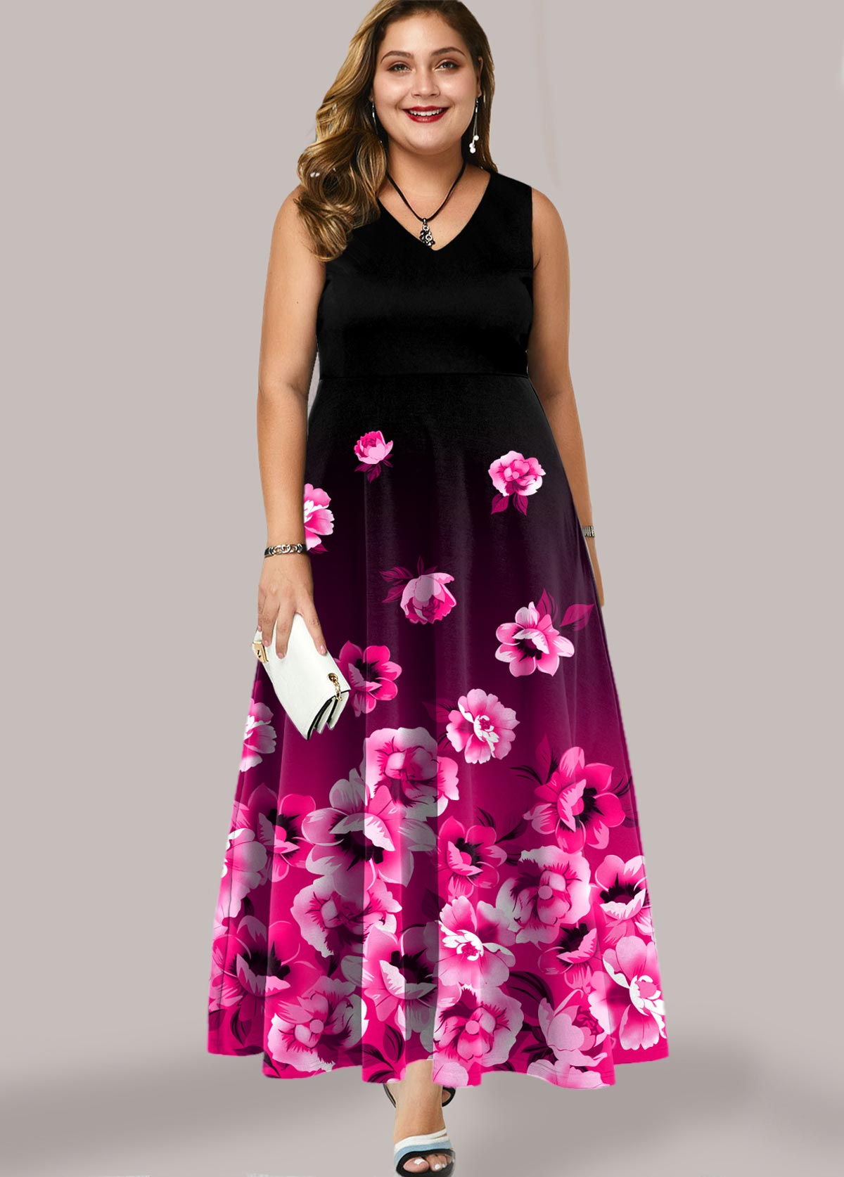 ROTITA Plus Size Ombre Floral Print Maxi Dress