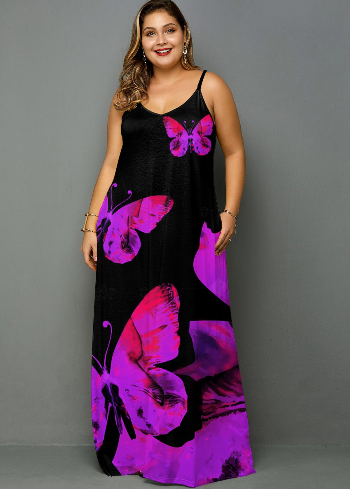 ROTITA Plus Size Spaghetti Strap Butterfly Print Dress