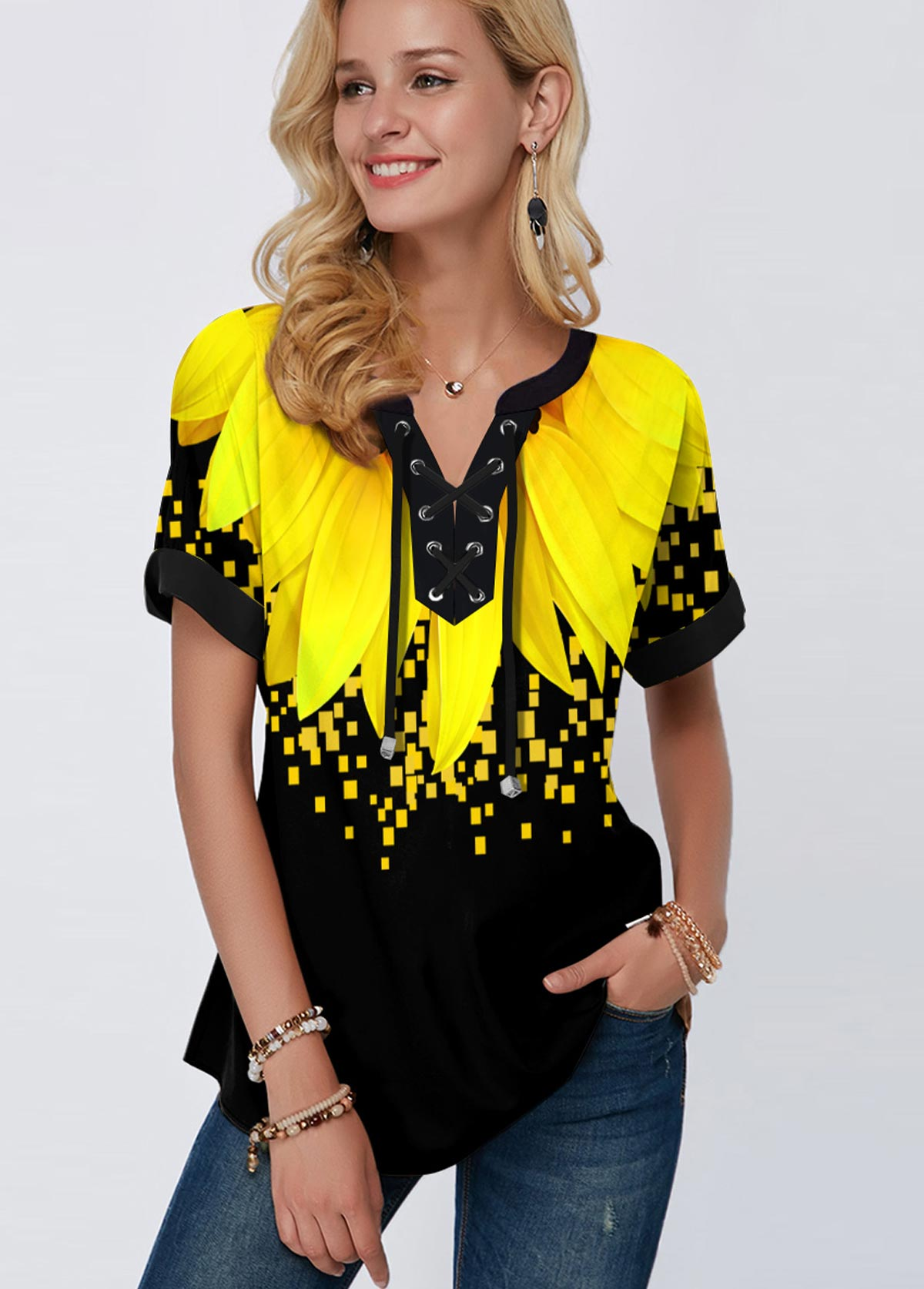 ROTITA Lace Up Sunflower Print Short Sleeve Blouse