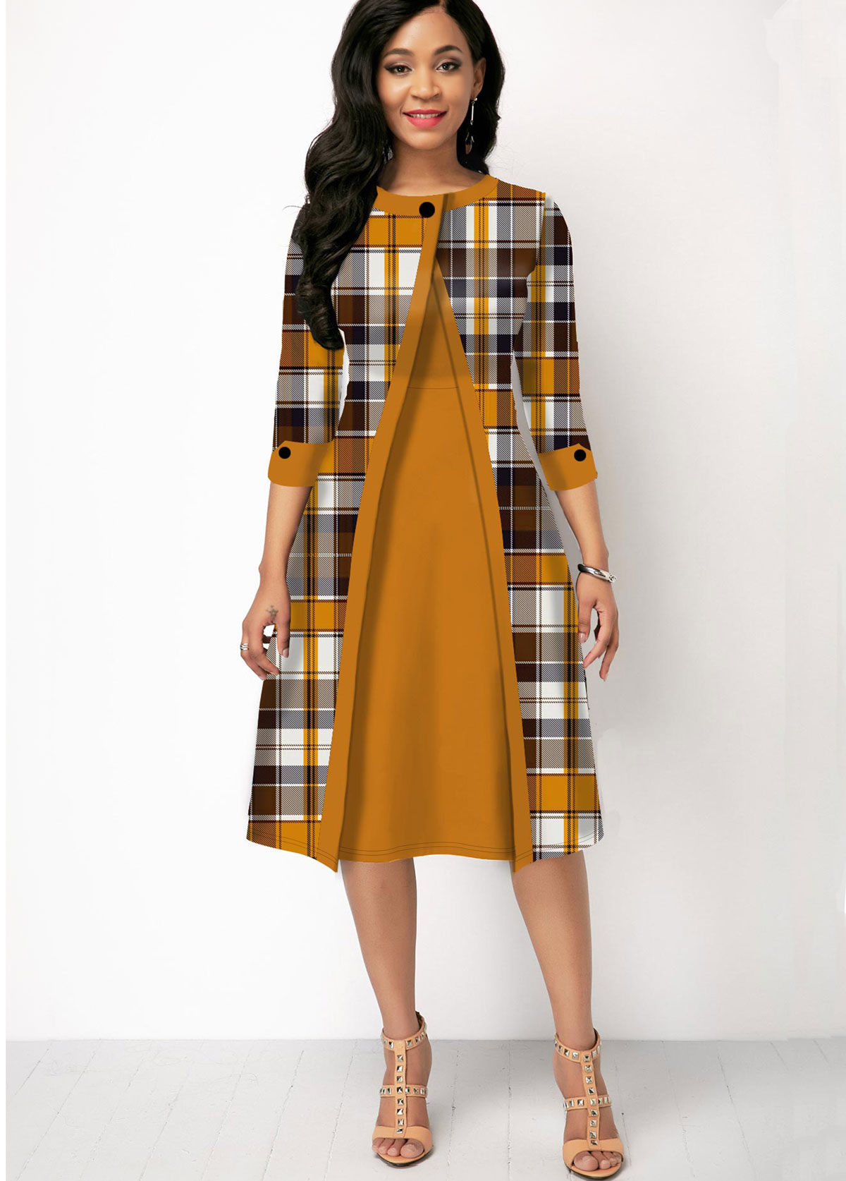 ROTITA Plaid Print Contrast Three Quarter Sleeve Dress