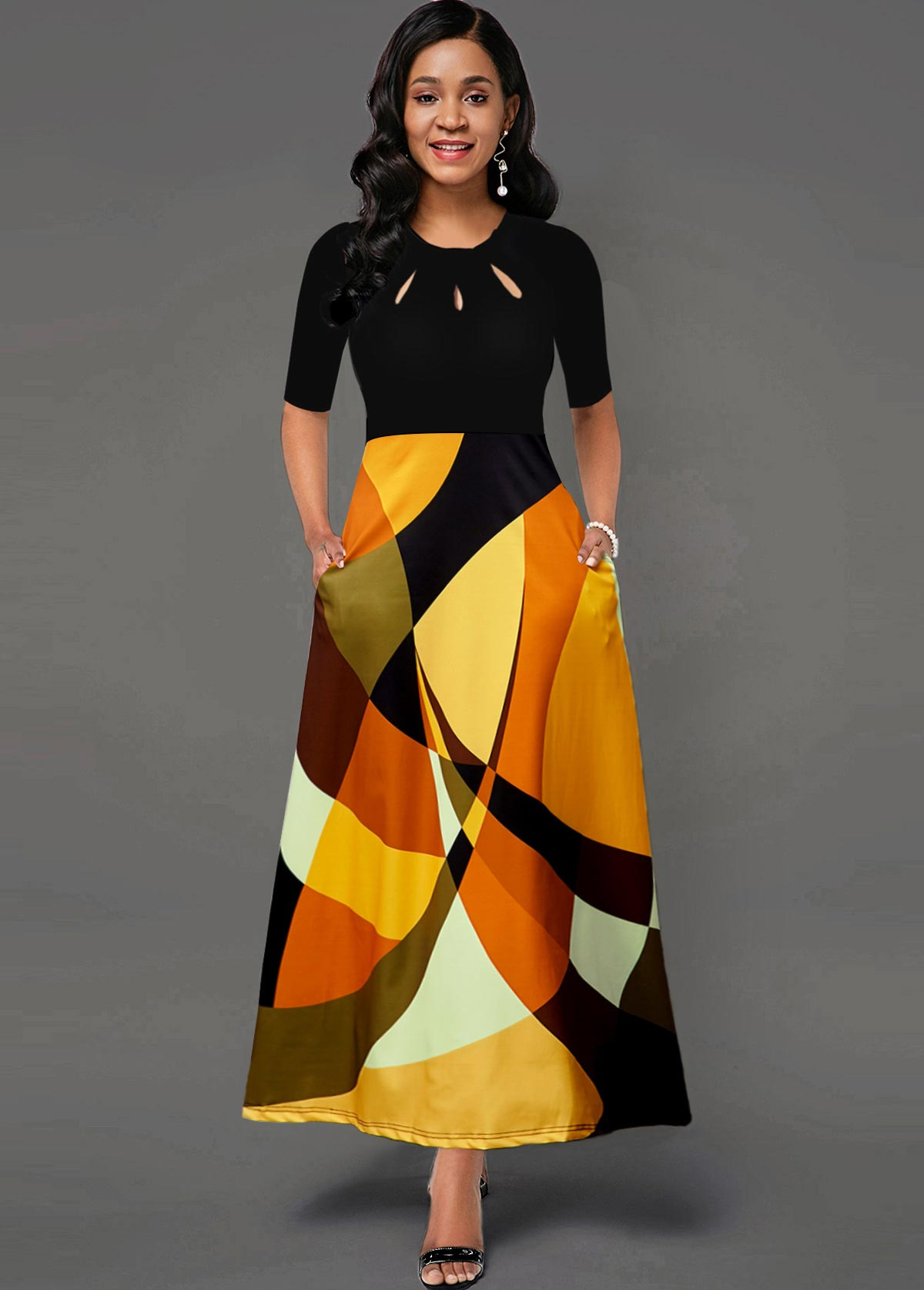 ROTITA Side Pocket Cutout Neck Geometric Print Maxi Dress