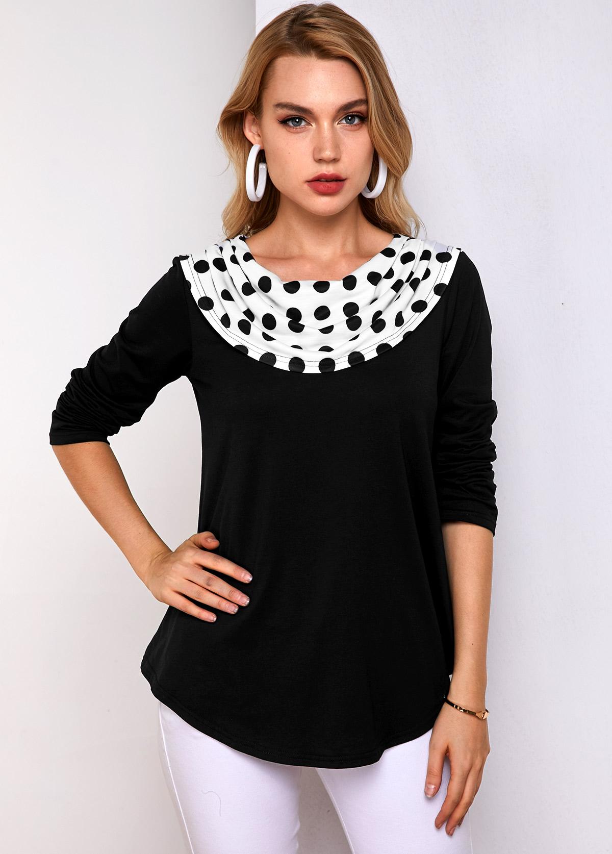ROTITA Polka Dot Black Long Sleeve T Shirt