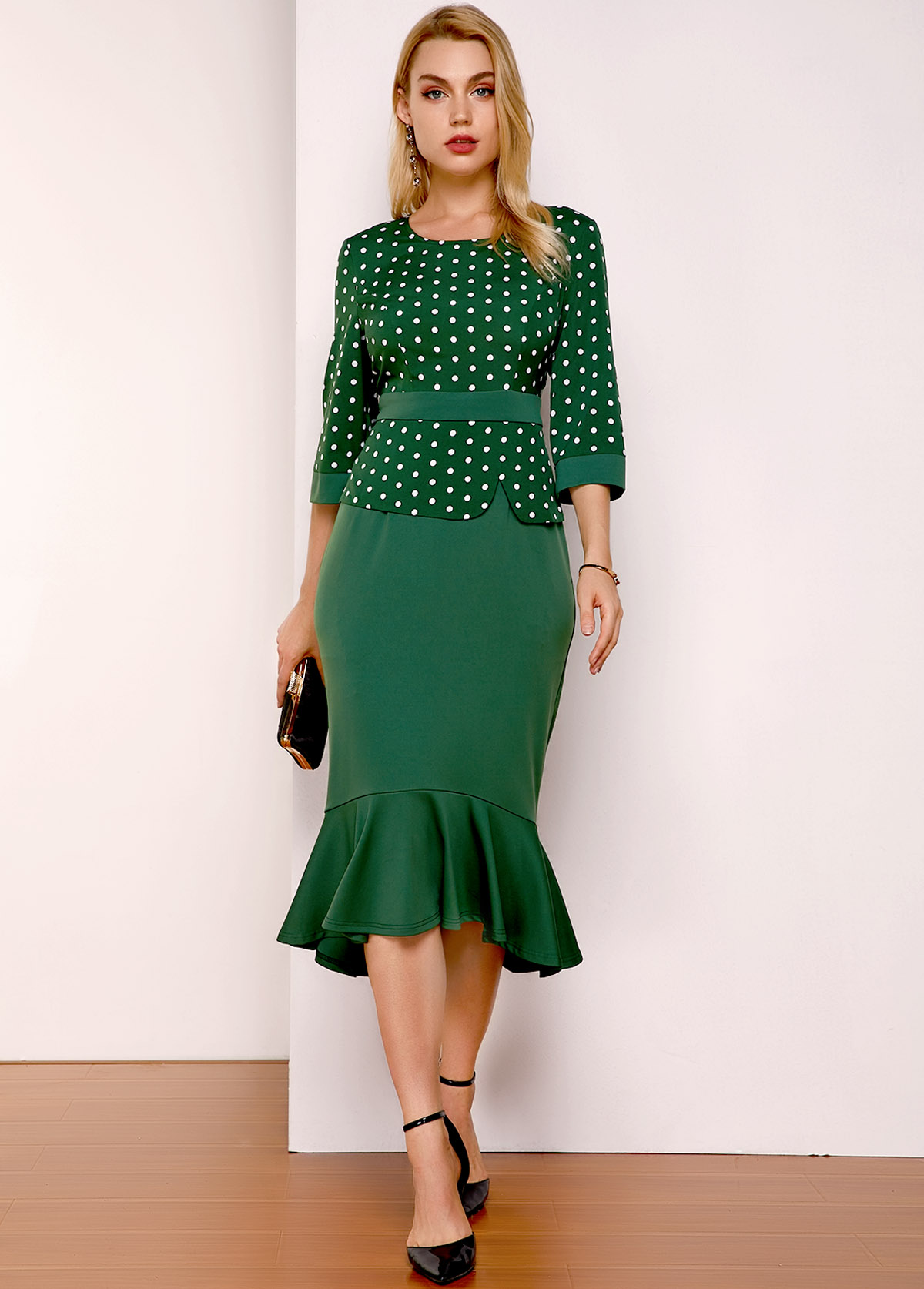 ROTITA Polka Dot Three Quarter Sleeve Dress
