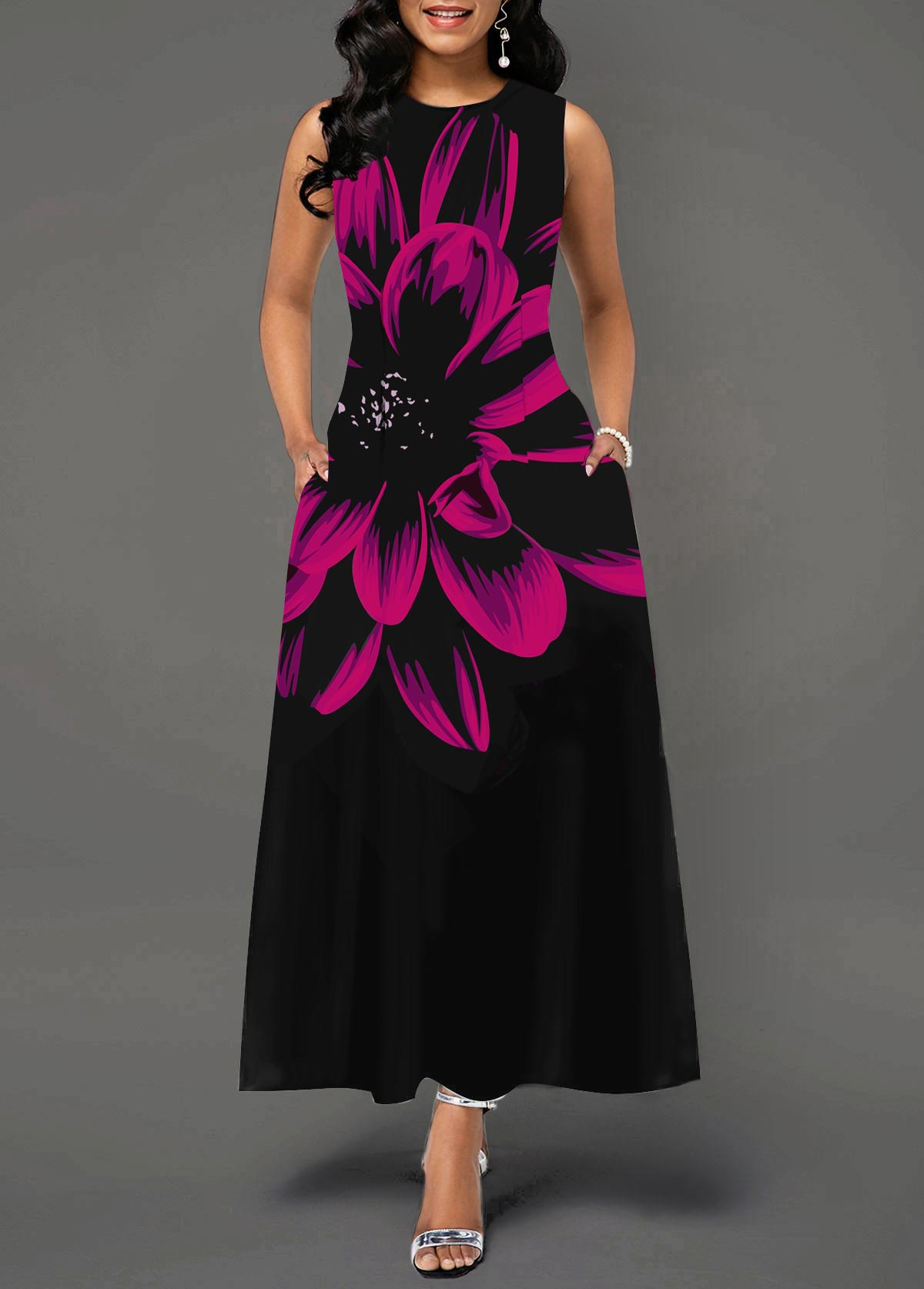 ROTITA Large Floral Print Sleeveless Pocket Dress