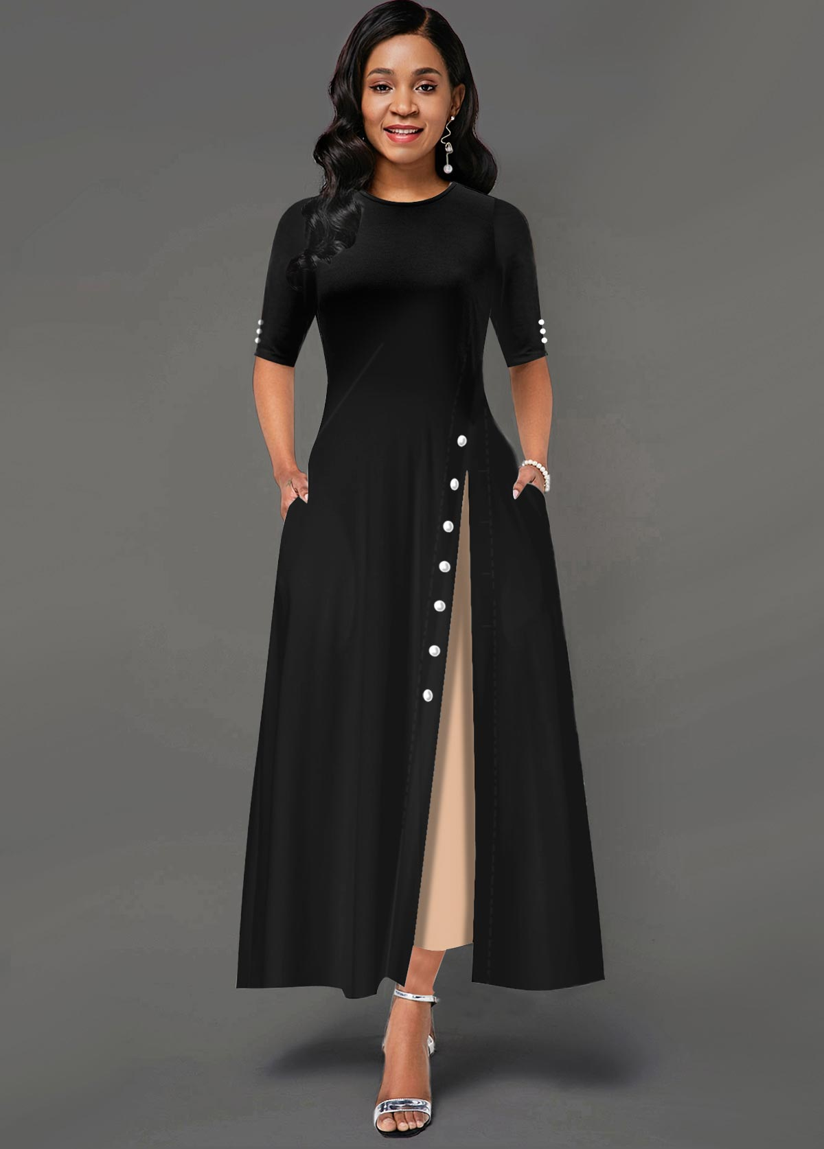 ROTITA Contrast Side Pocket Inclined Button Maxi Dress