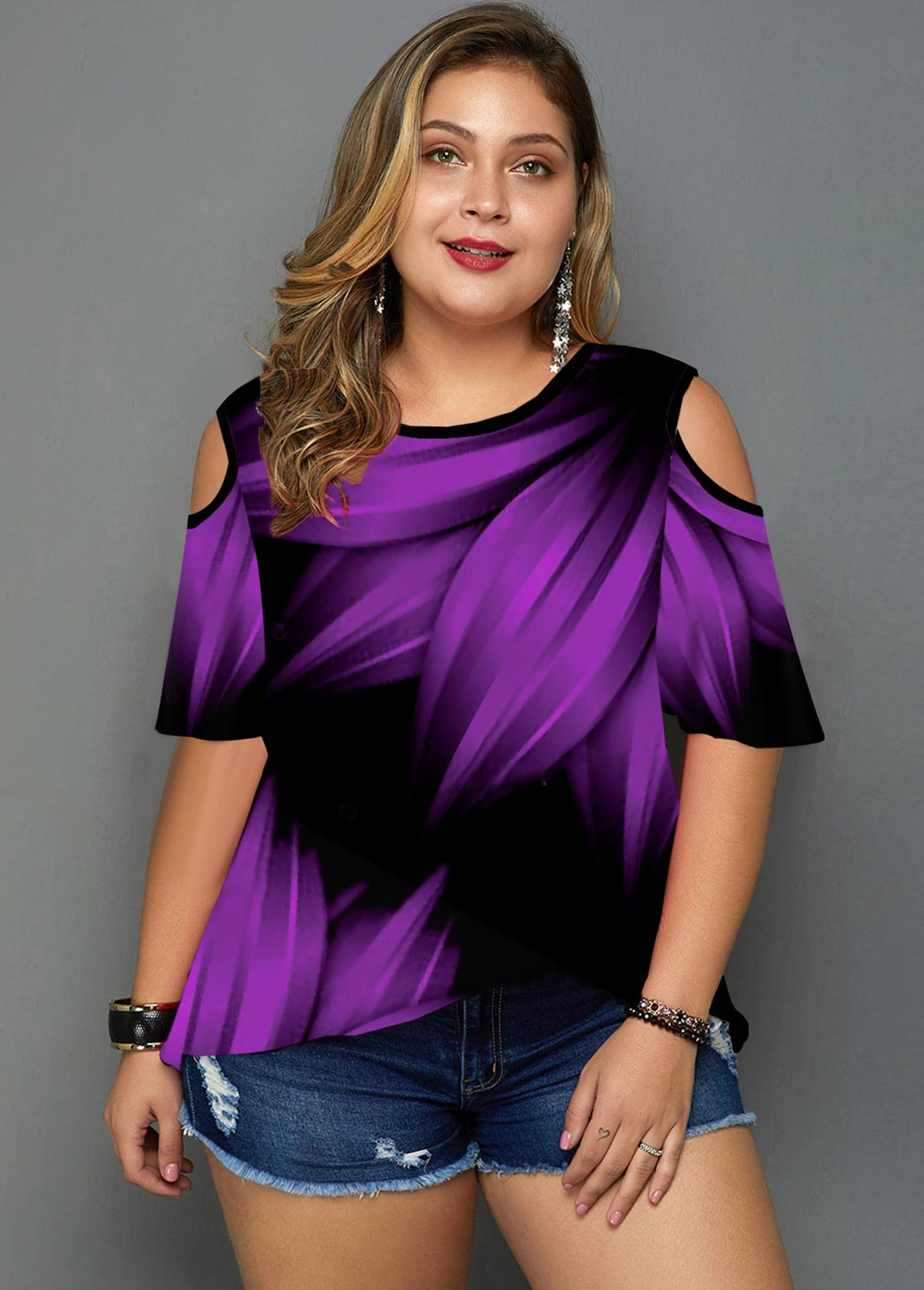 ROTITA Plus Size Cold Shoulder Printed T Shirt