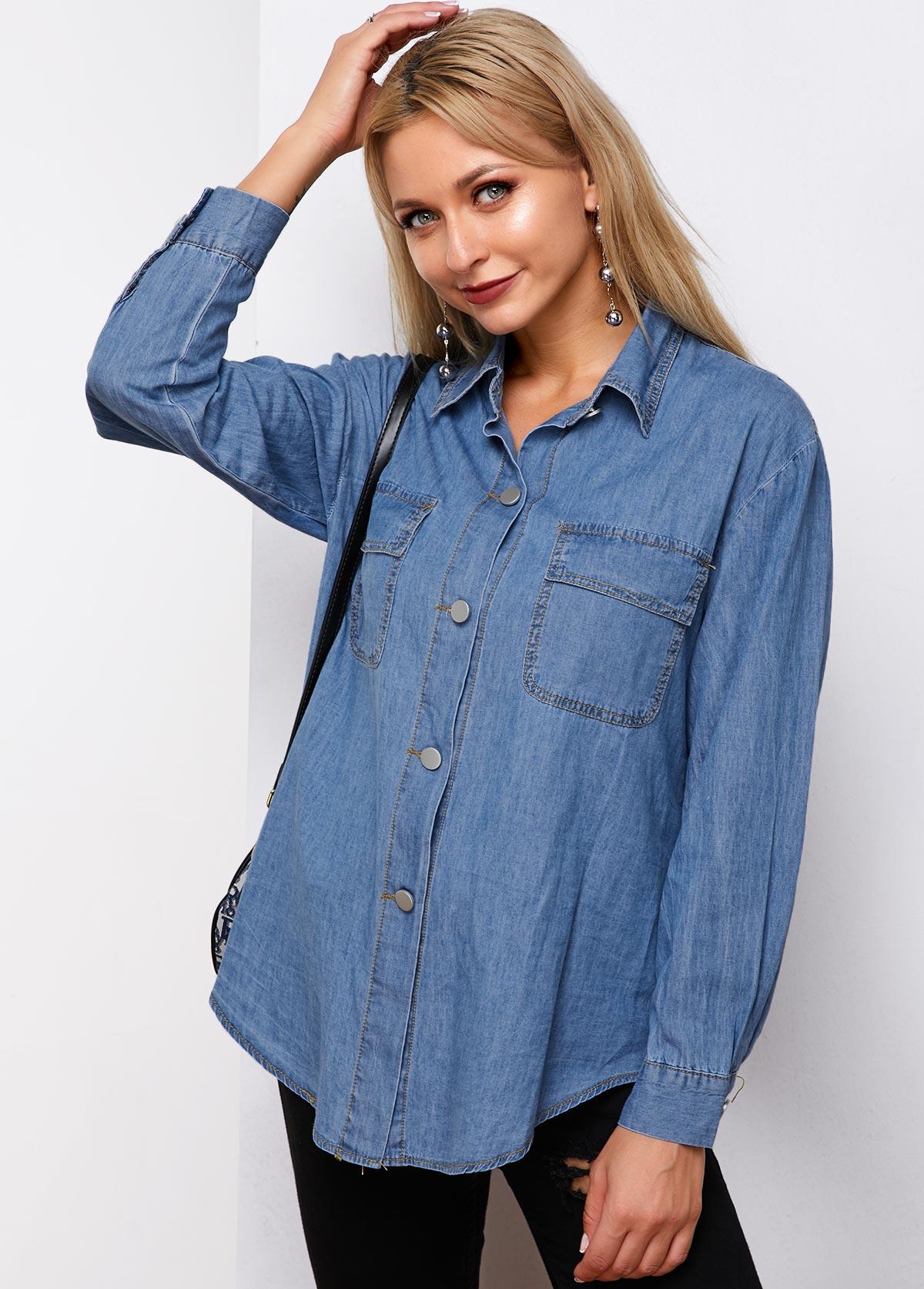 ROTITA Chest Pocket Button Up Denim Shirt