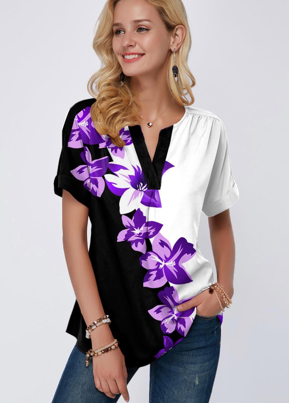 ROTITA Floral Print Short Sleeve Split Neck Blouse