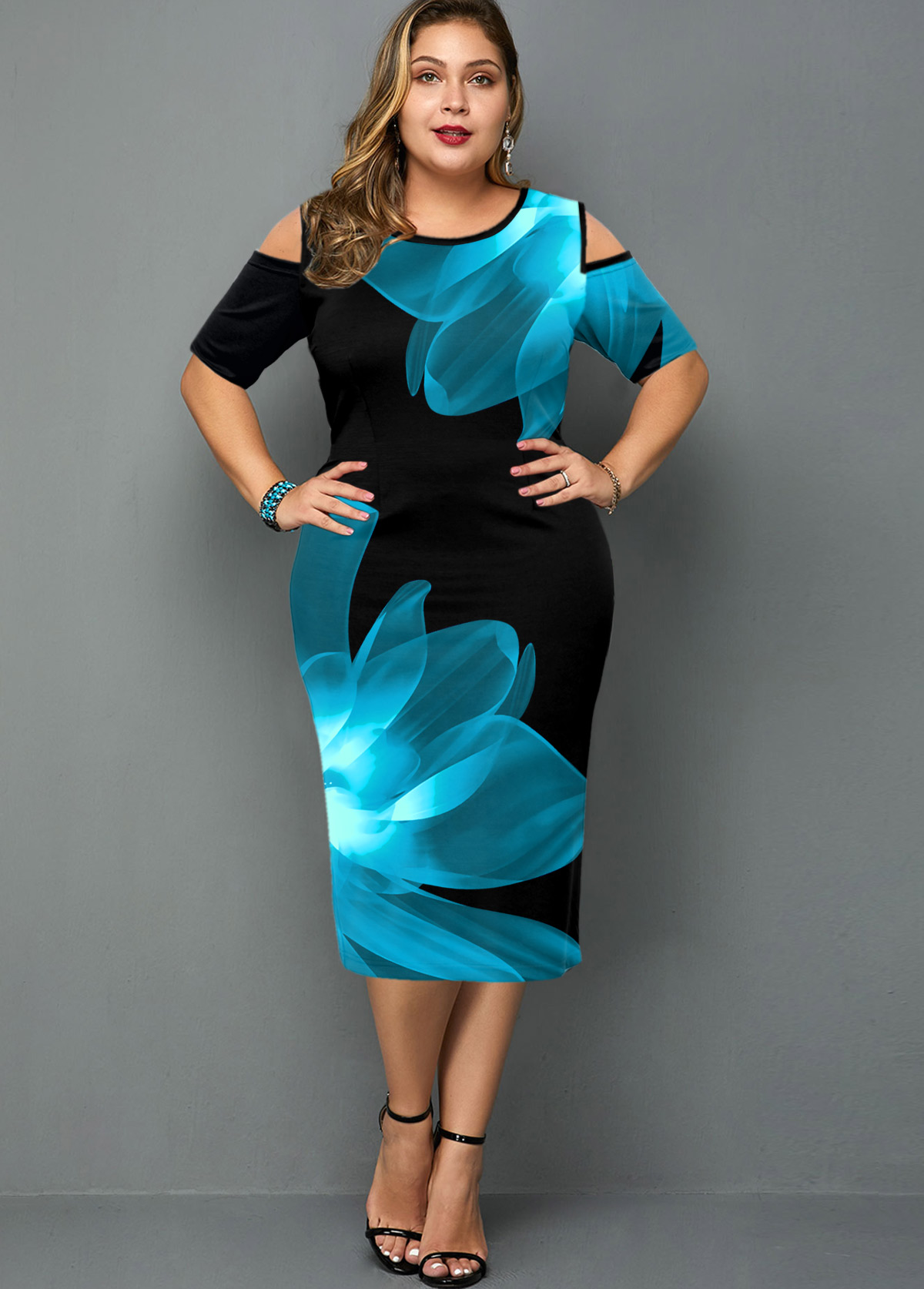 ROTITA Plus Size Cold Shoulder Floral Print Dress