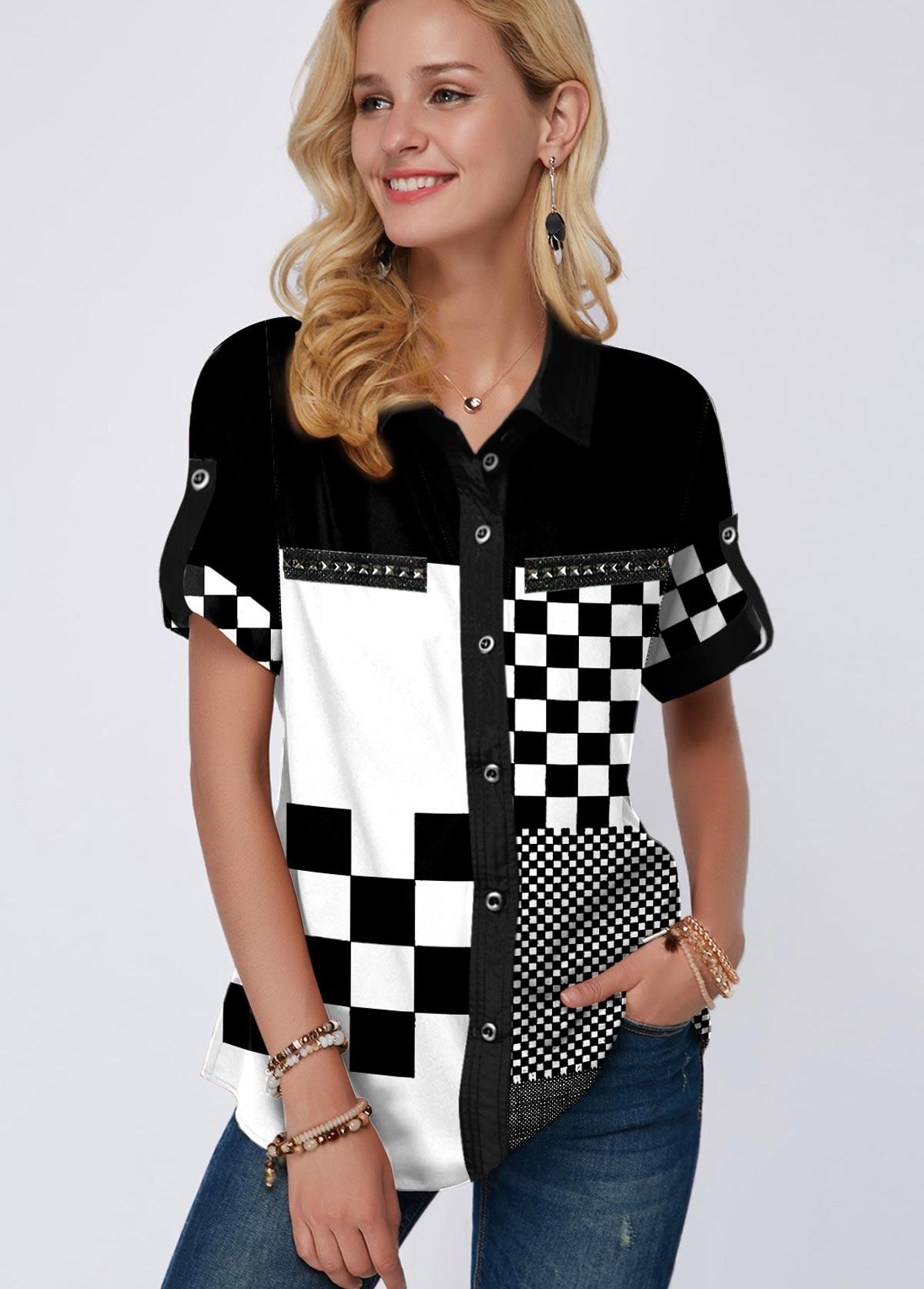 ROTITA Button Up Plaid Print Turndown Collar Blouse