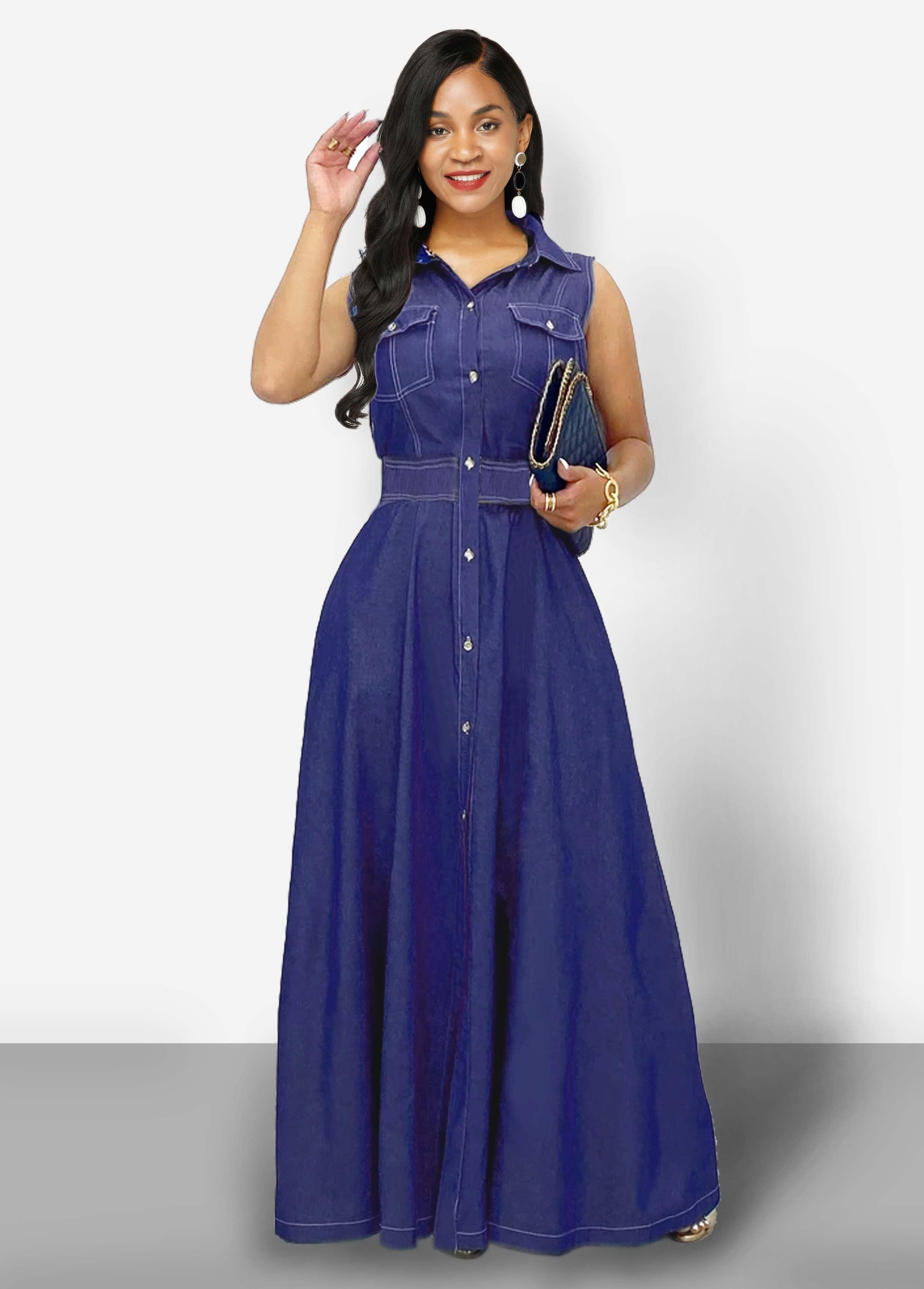 ROTITA Turndown Collar Side Pocket Button Up Denim Dress
