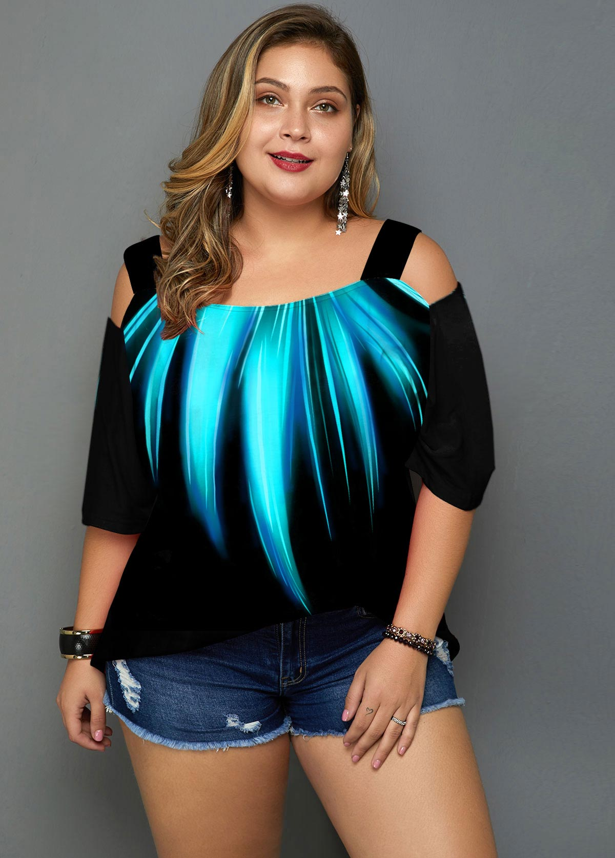 ROTITA Plus Size Cold Shoulder Palm Leaf Print T Shirt