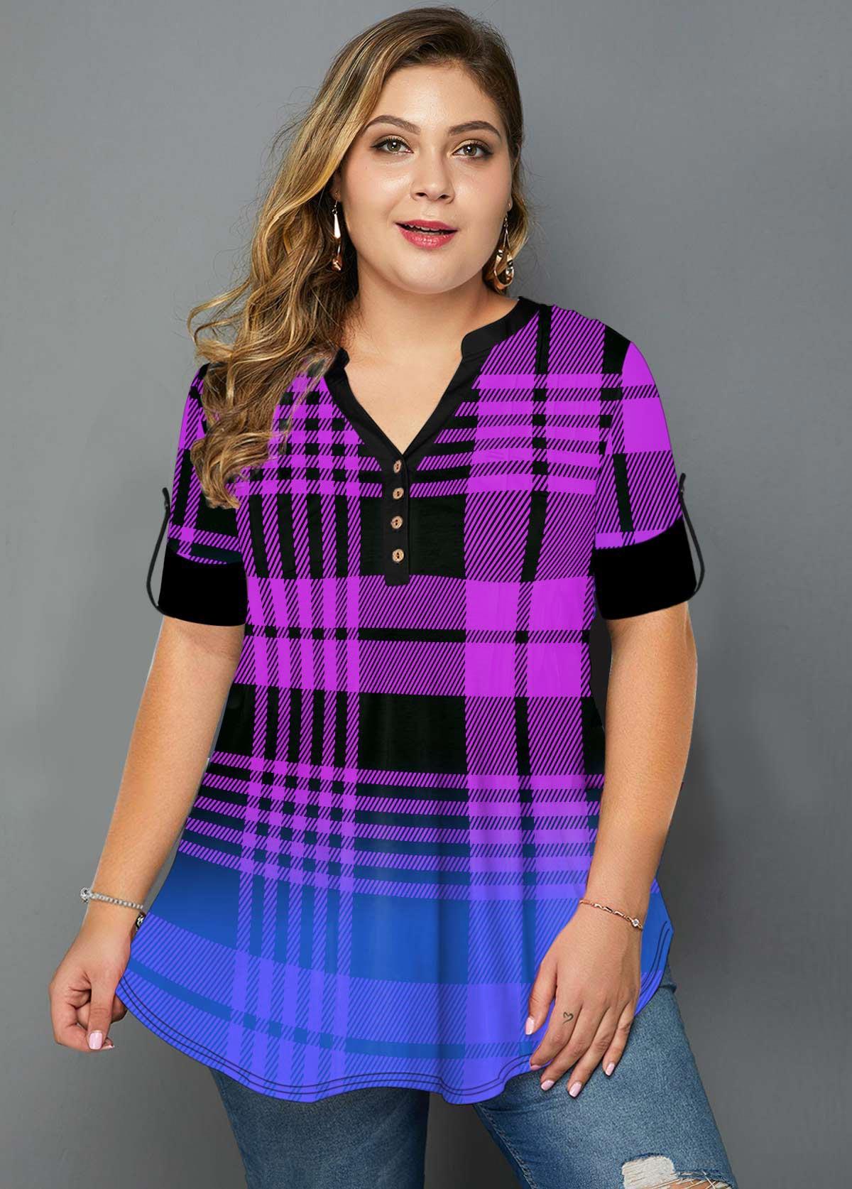 ROTITA Plus Size Ombre Plaid Print T Shirt