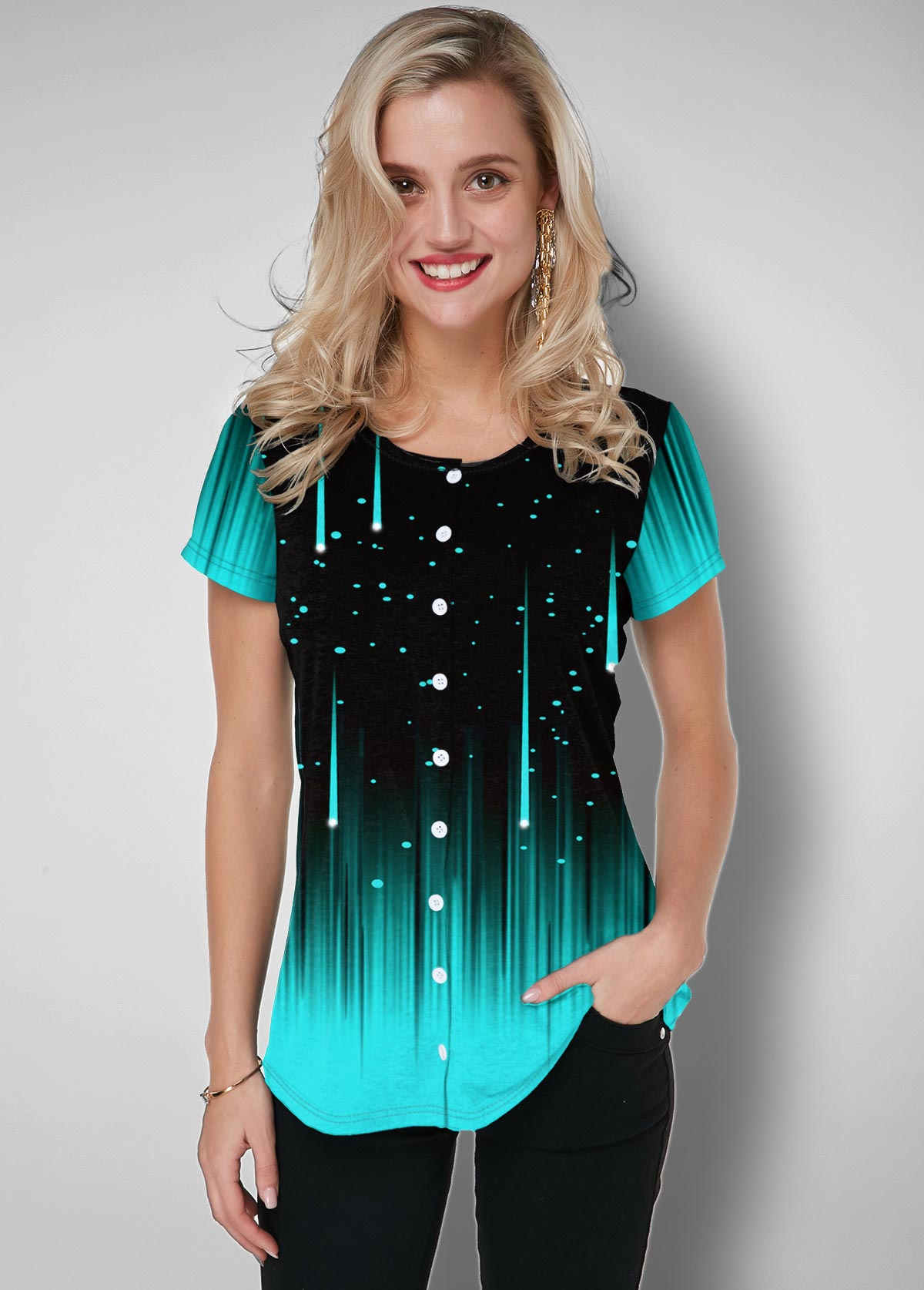 ROTITA Button Up Starry Night Print Ombre T Shirt