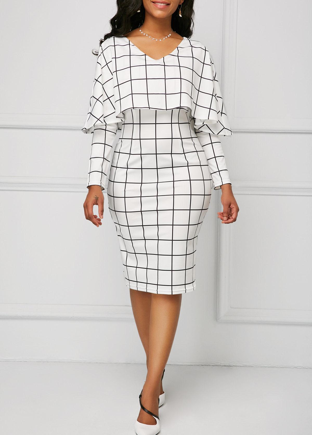 ROTITA Plaid Print Long Sleeve Foldover Detail Dress