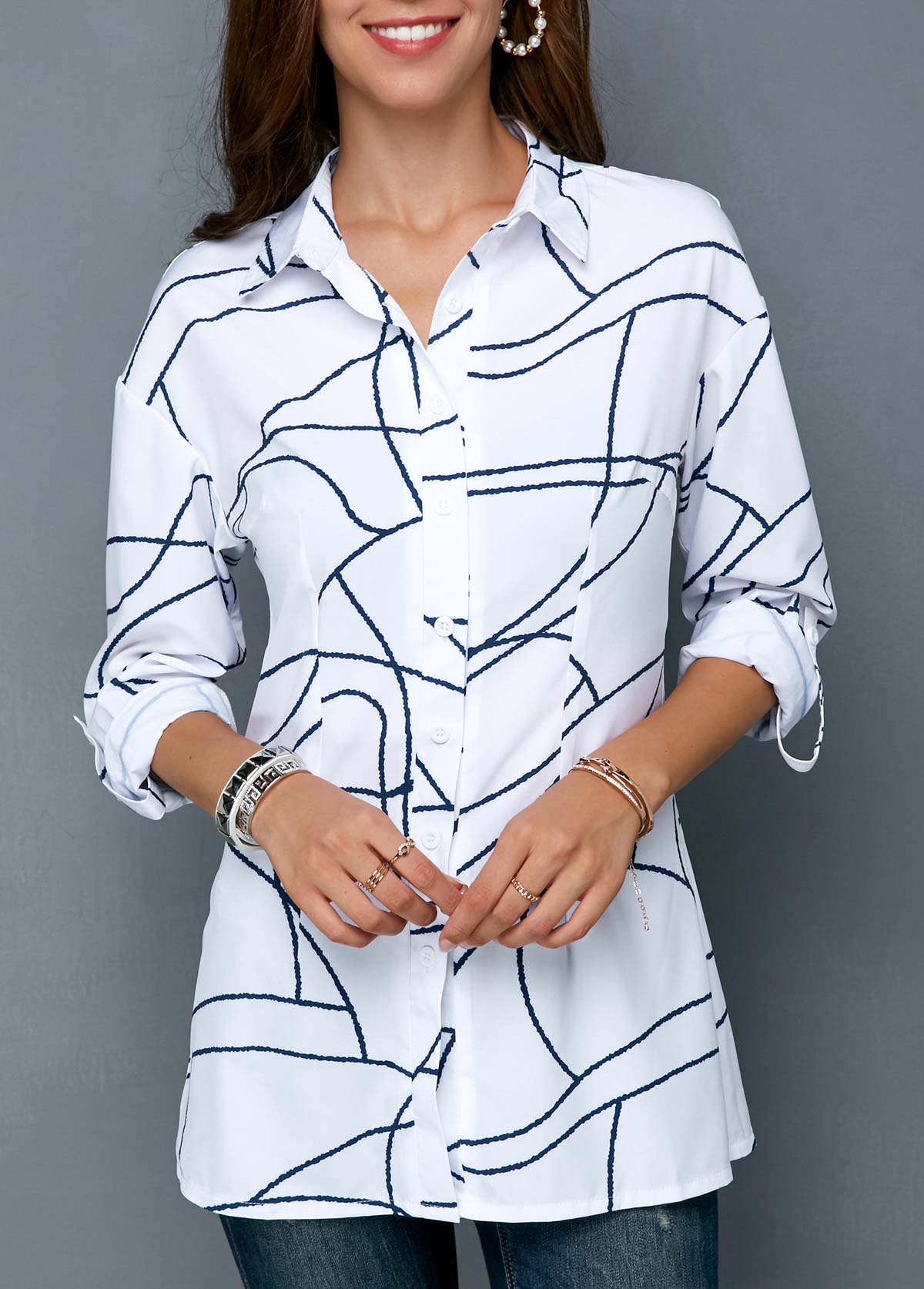 ROTITA Button Up Geometric Print Turndown Collar Shirt