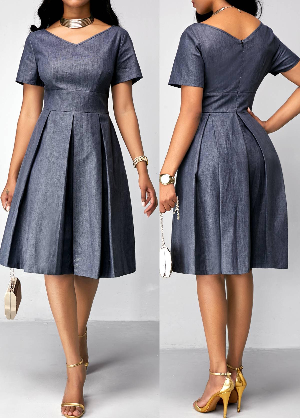 ROTITA Pleated V Neck Short Sleeve Dress