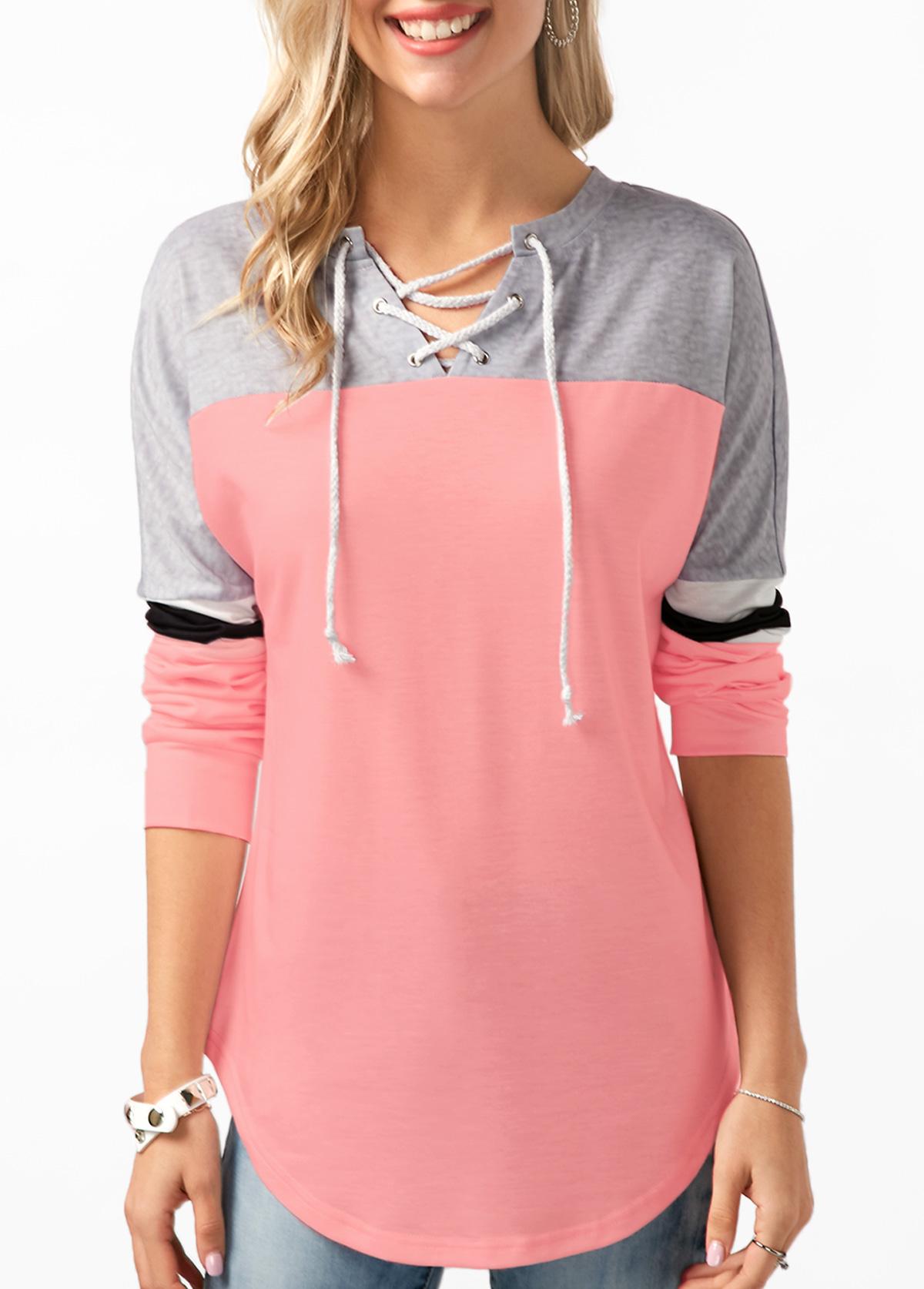ROTITA Lace Up Long Sleeve Contrast Sweatshirt