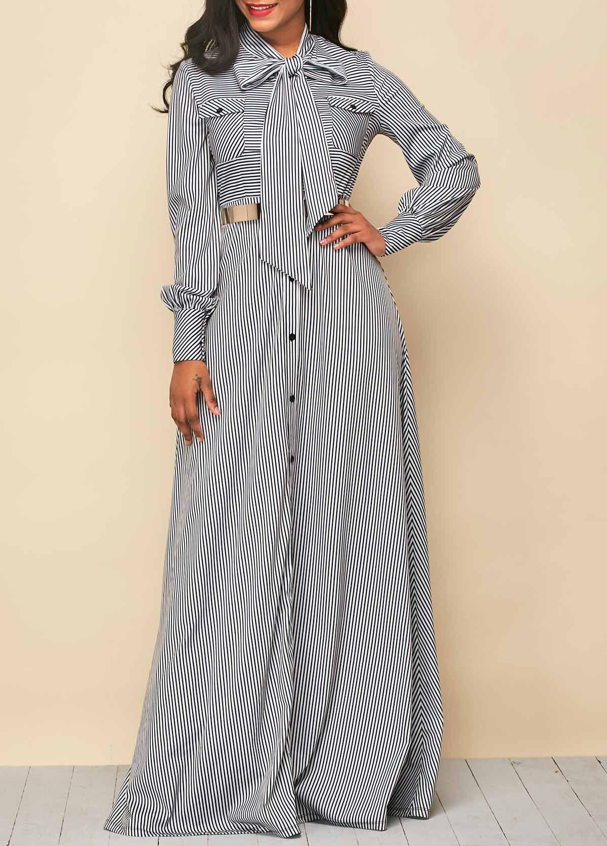 ROTITA Button Up Stripe Print Tie Neck Dress