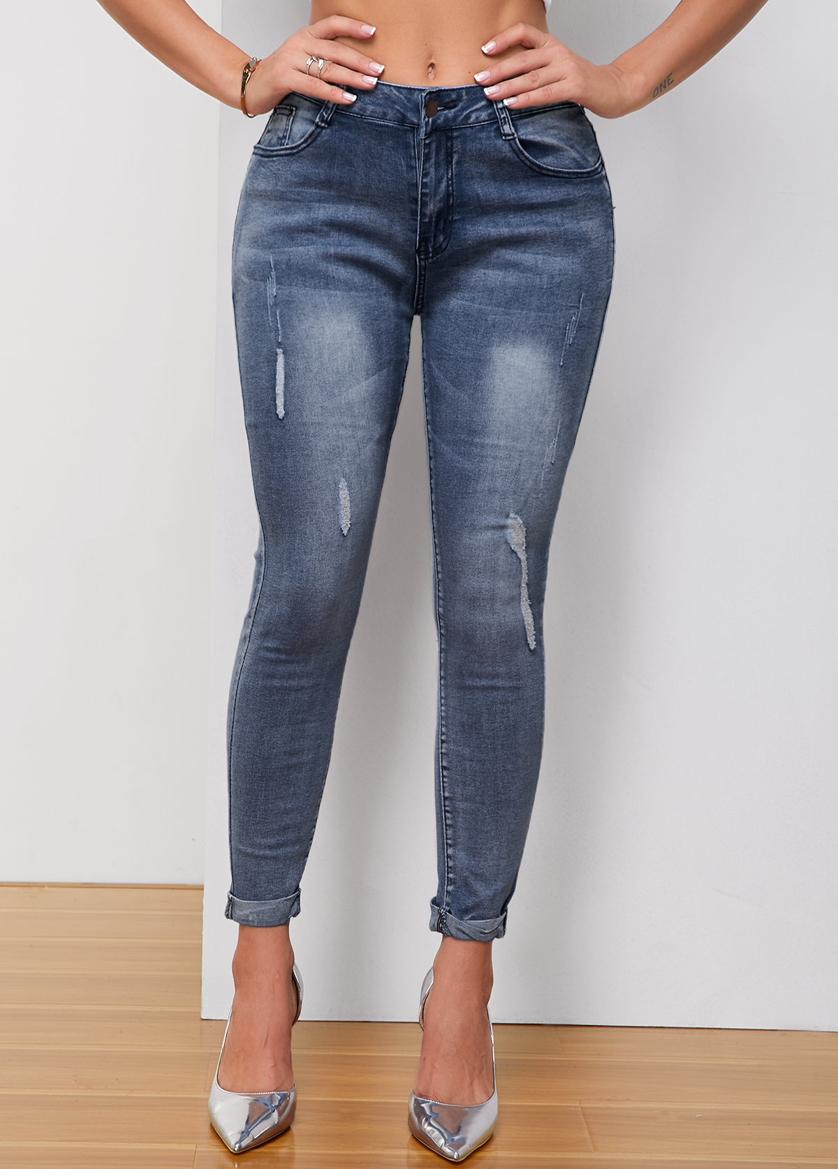 ROTITA Pocket Shredded Acid Washed Skinny Jeans