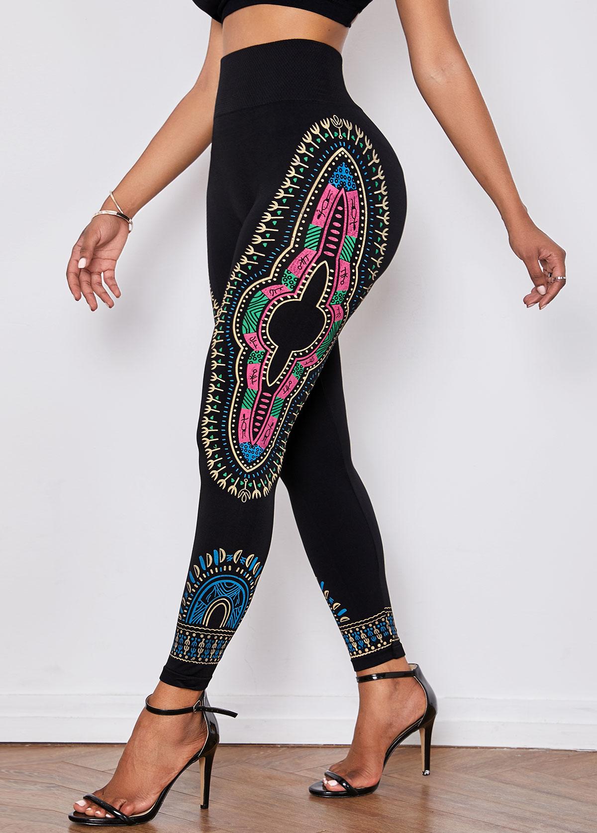 Dashiki Print Elastic Waist Skinny Pants
