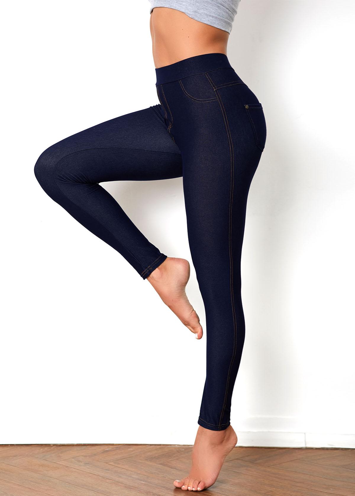 Denim Blue Elastic Waist Pocket Skinny Pants