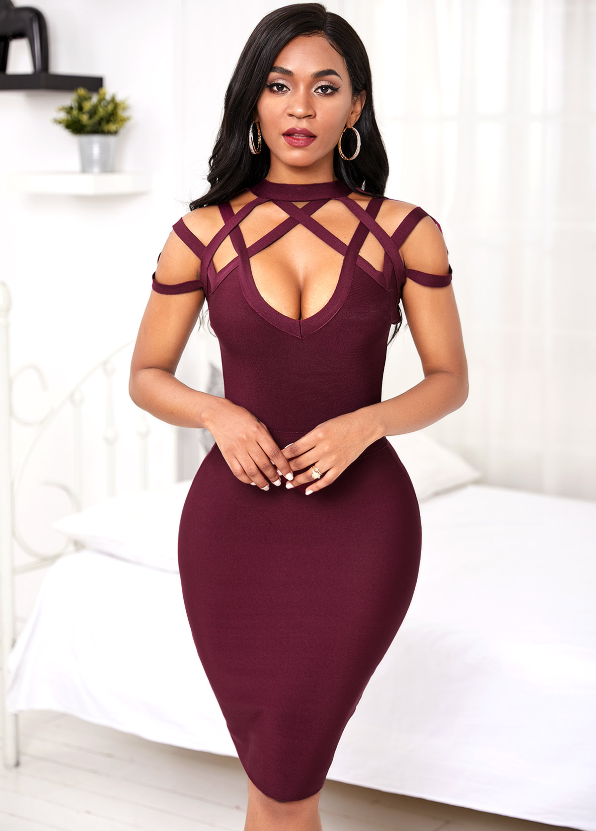 Wine Red Lattice Yoke Bodycon Dress