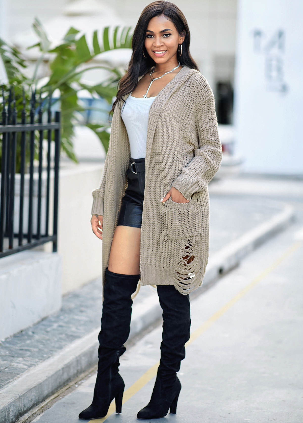 Open Front Pocket Hooded Collar Cardigan