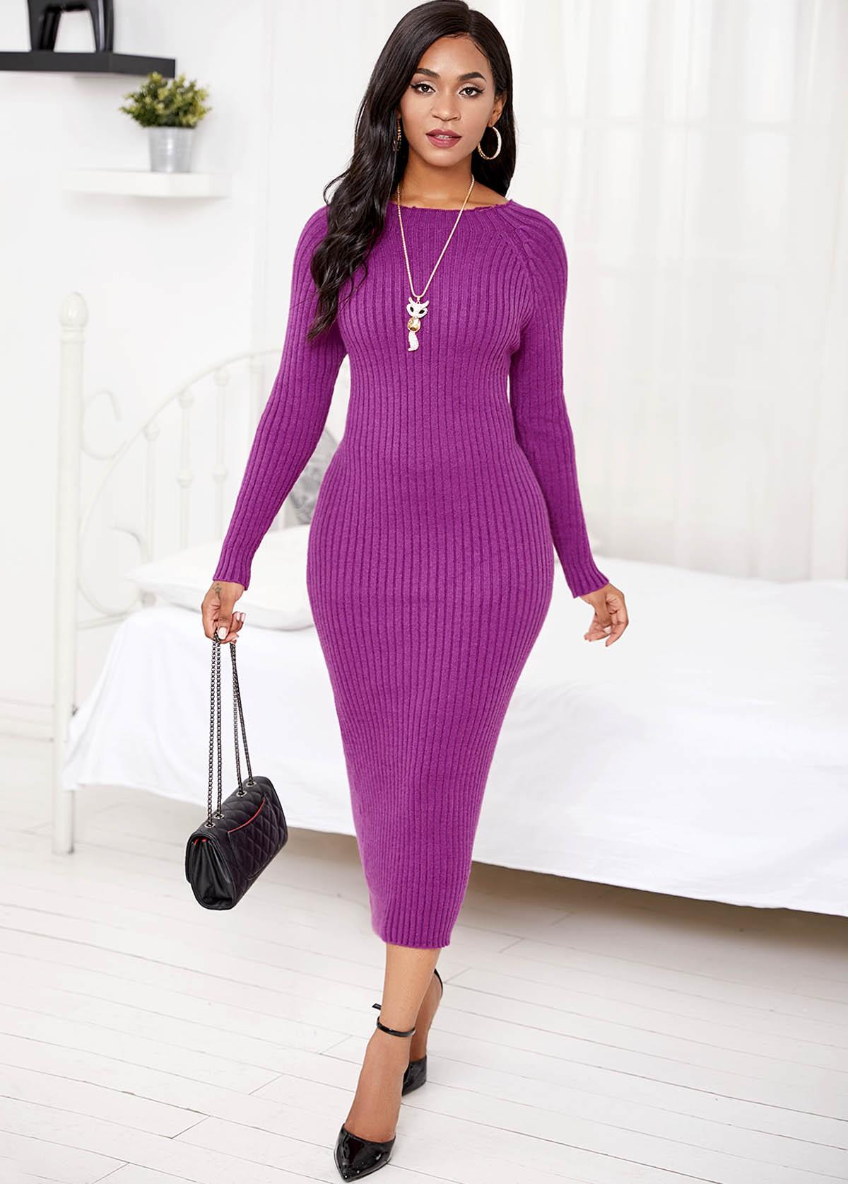 ROTITA Round Neck Long Sleeve Sweater Dress