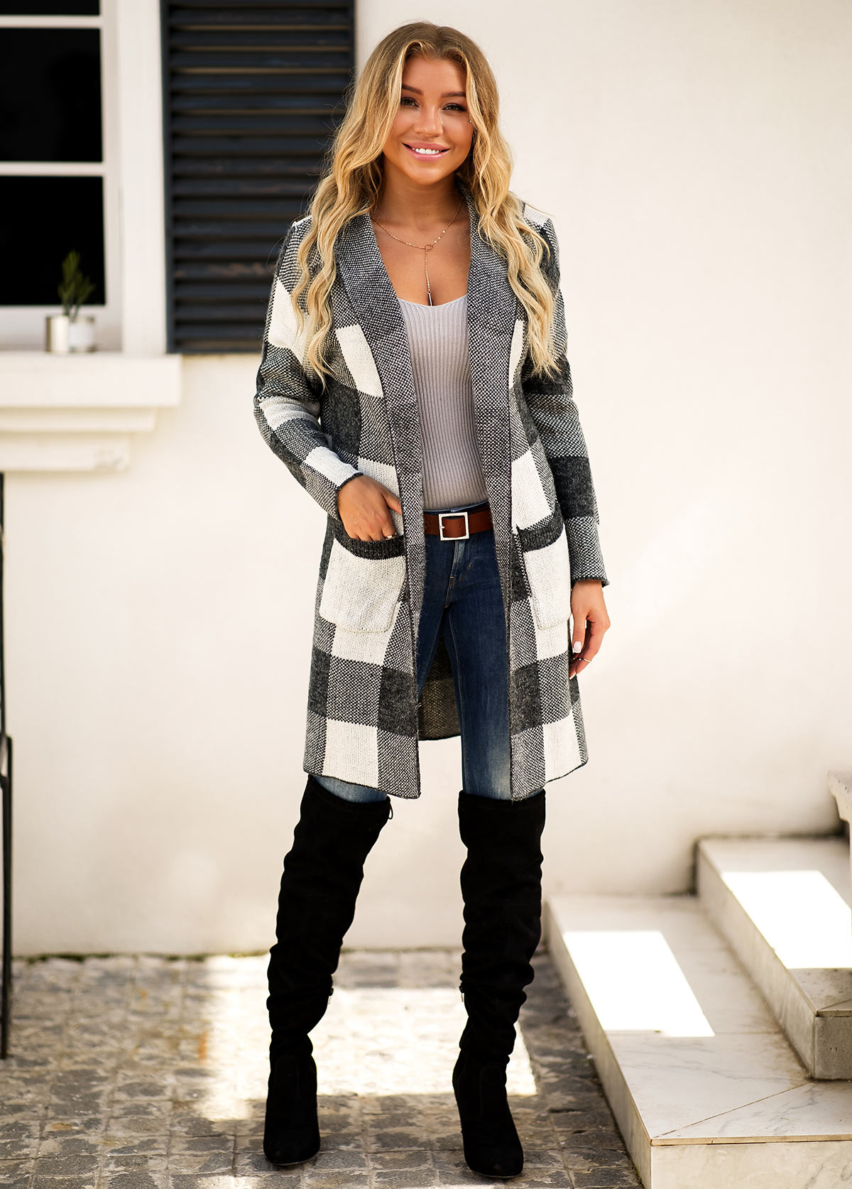 Plaid Pattern Open Front Pocket Cardigan