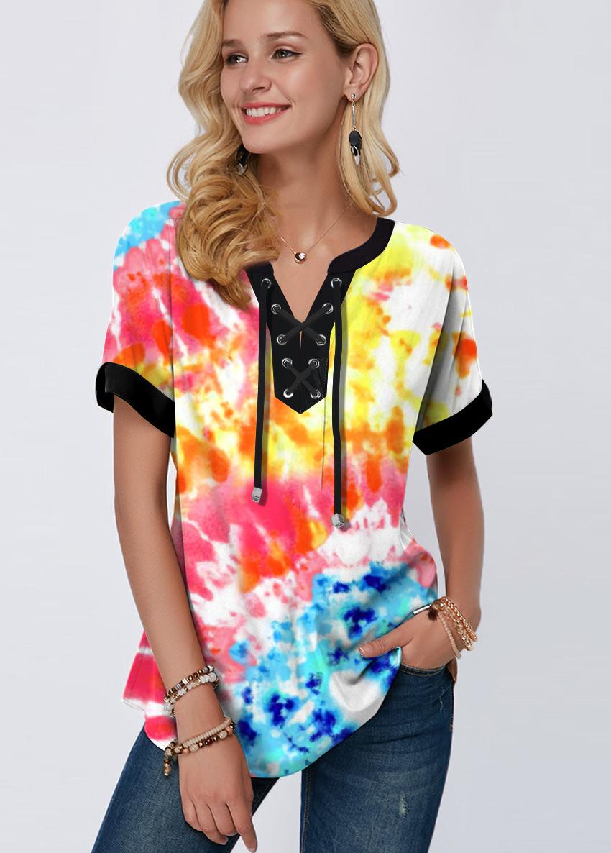 ROTITA Tie Dye Print Lace Up Rainbow Color Blouse