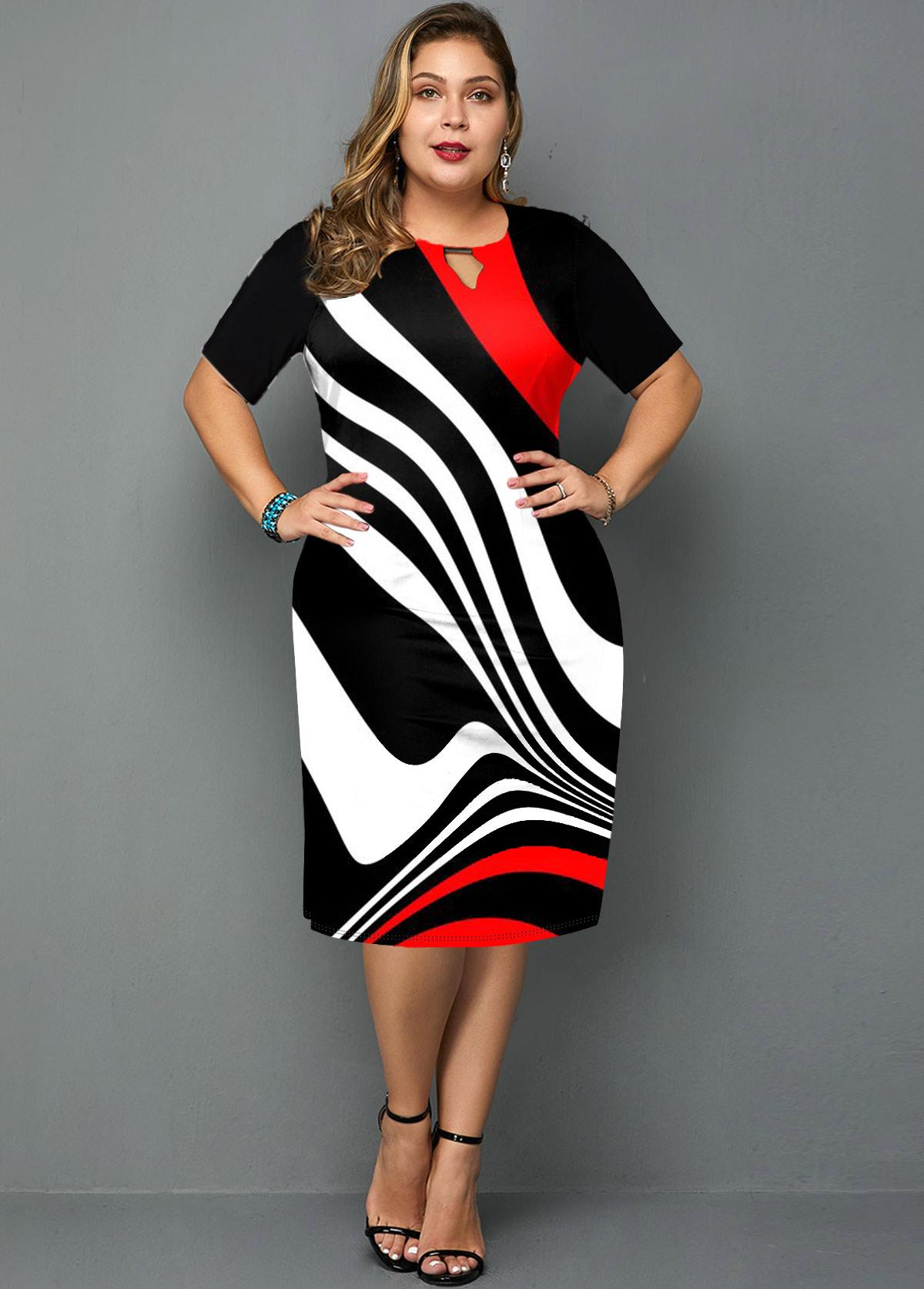 ROTITA Plus Size Keyhole Neckline Stripe Print Dress