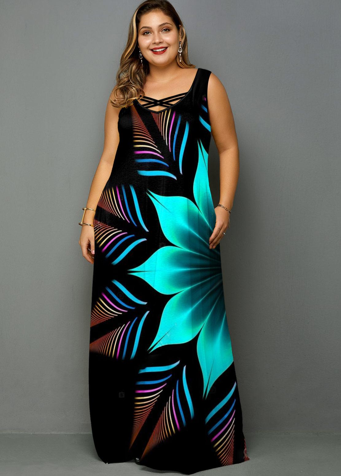 ROTITA Plus Size Wide Strap Flower Print Maxi Dress