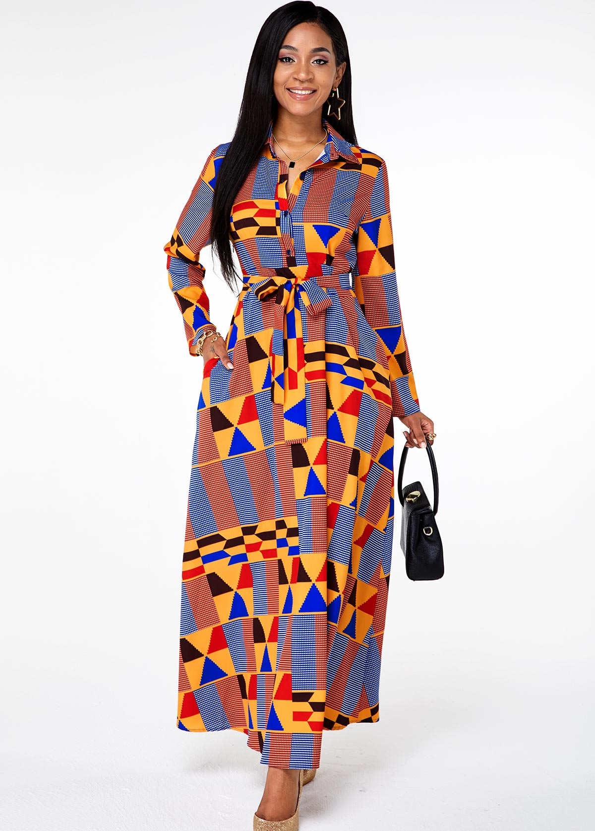 ROTITA Belted Button Up Geometric Print Pocket Dress