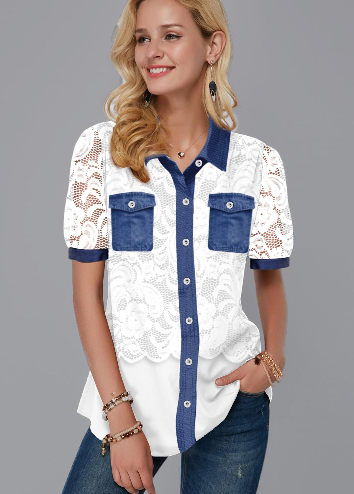 ROTITA Lace Panel Chest Pocket Button Up Blouse