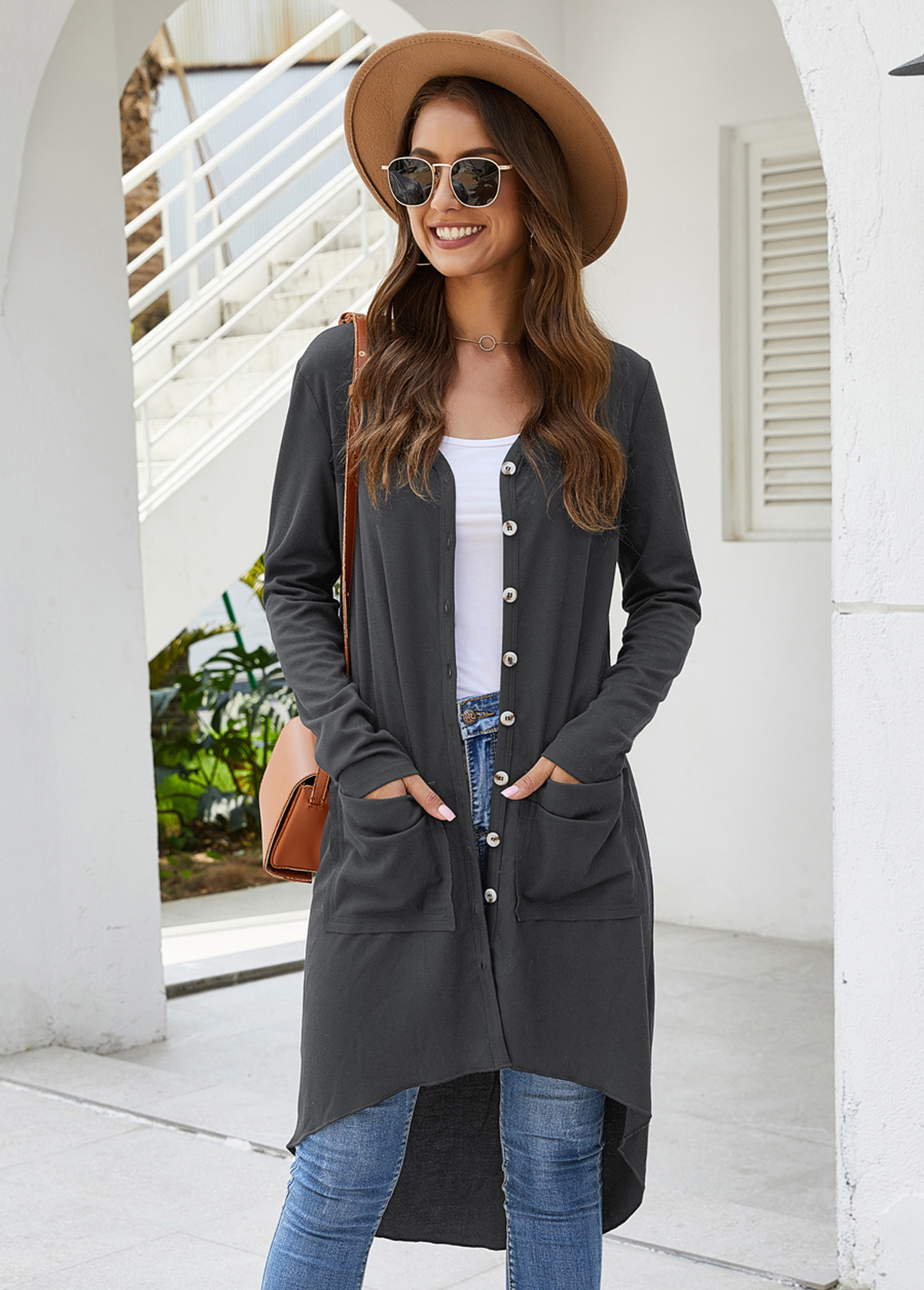 Open Front Pocket Detail Long Sleeve Cardigan