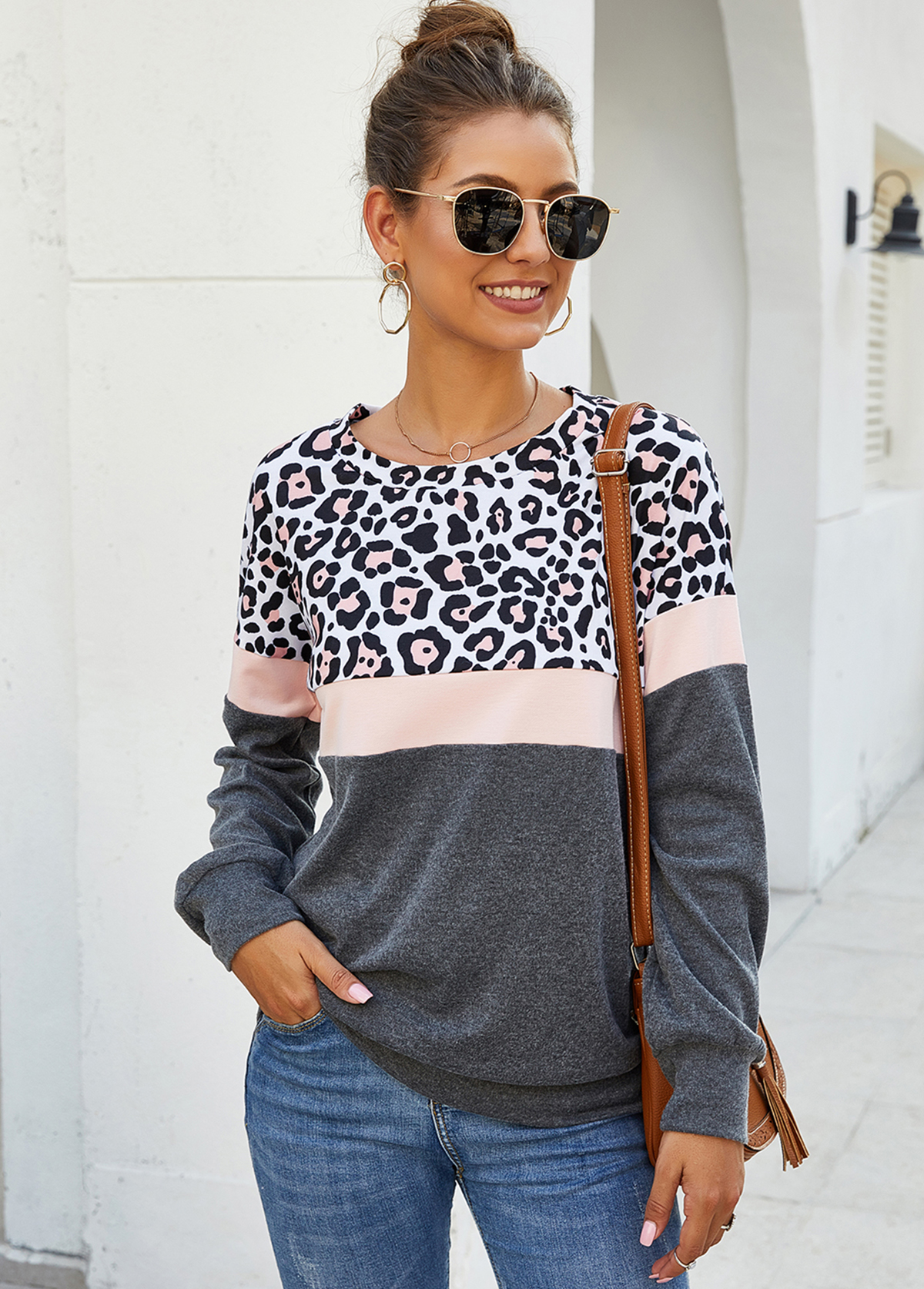 Long Sleeve Leopard Print Contrast Sweatshirt