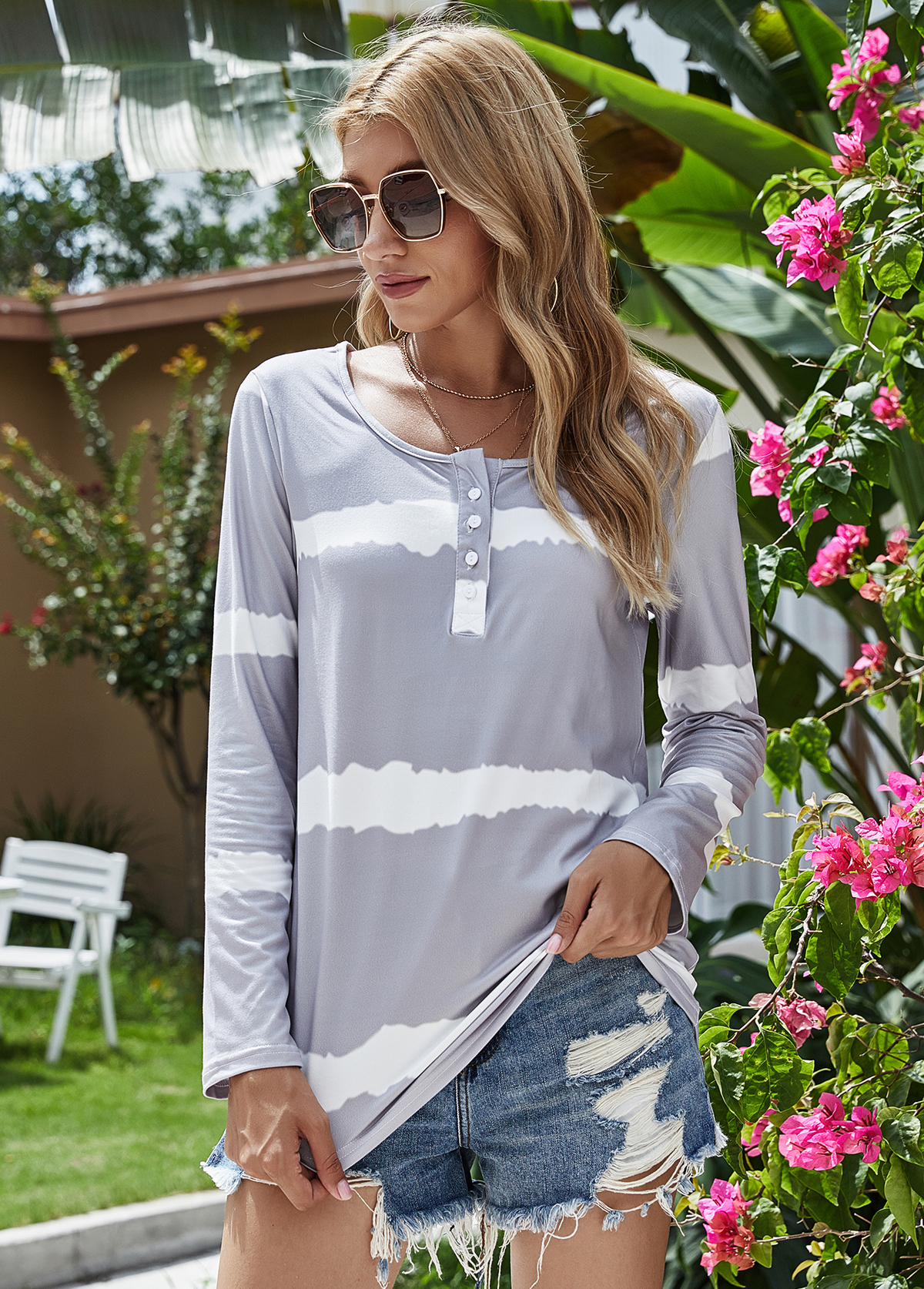 Round Neck Long Sleeve Stripe Print T Shirt
