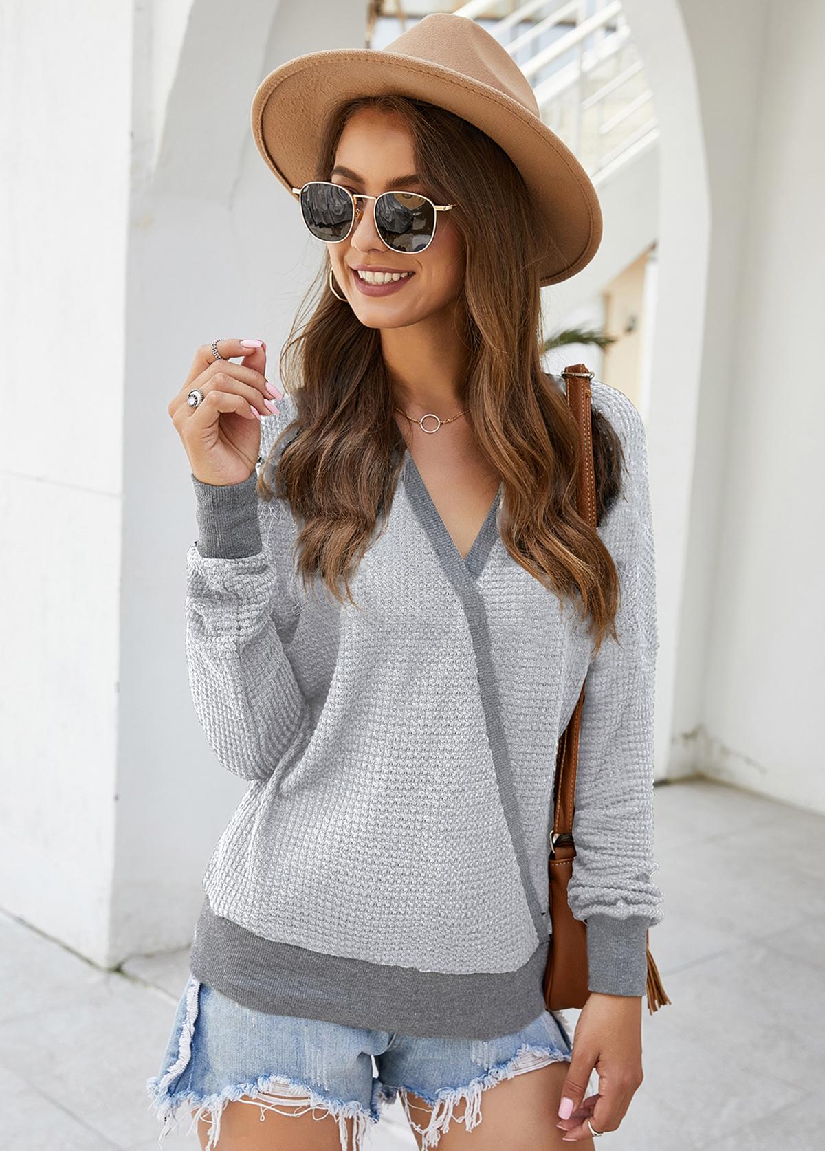 Contrast Panel V Neck Long Sleeve Sweater