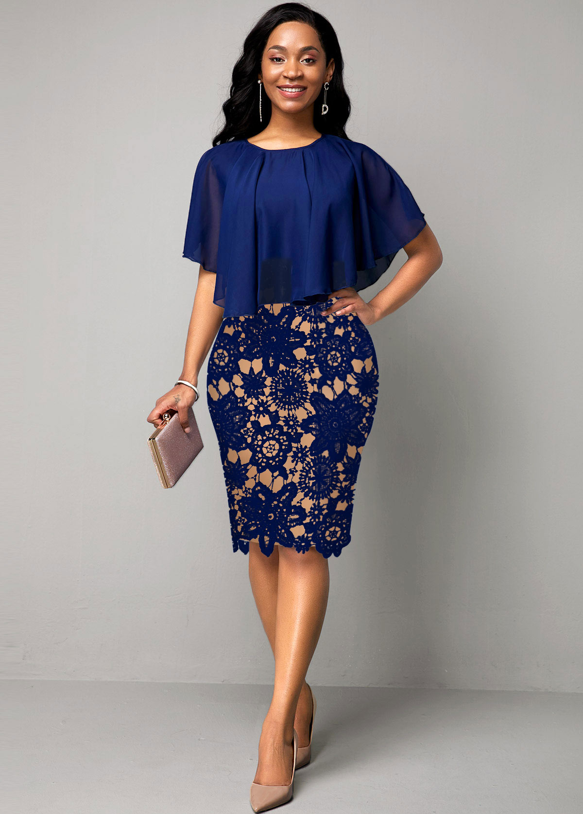 ROTITA Cape Sleeve Lace Panel Navy Blue Dress