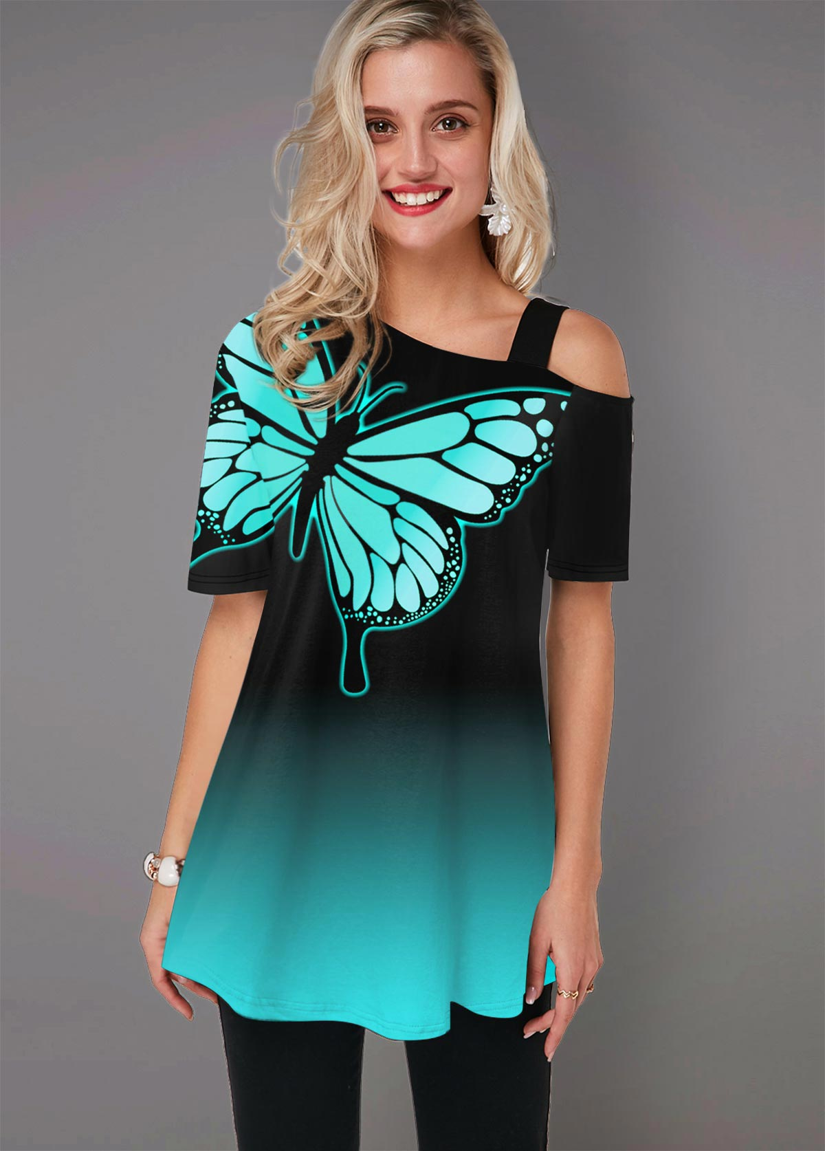ROTITA Cold Shoulder Butterfly Print Ombre T Shirt