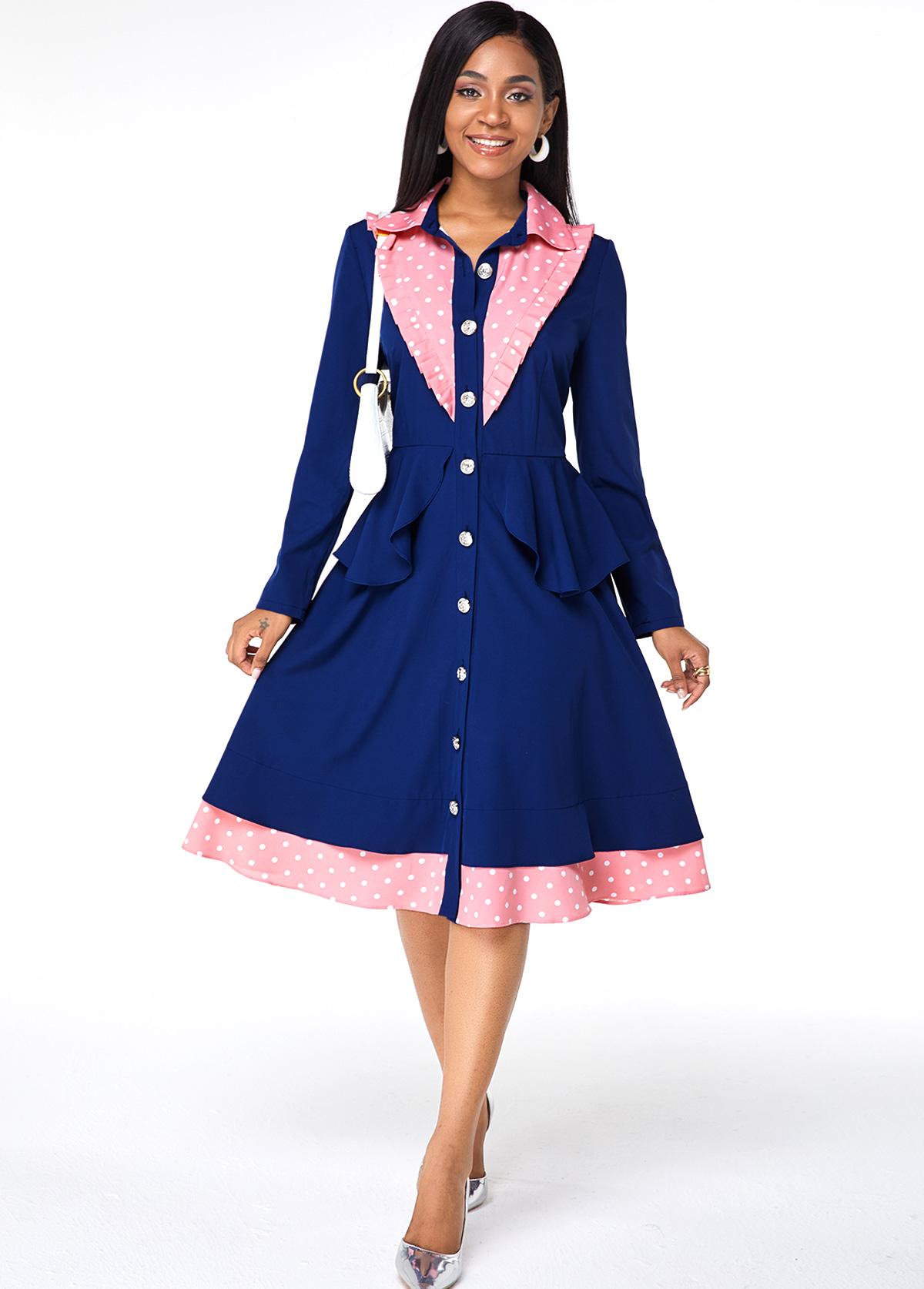 ROTITA Button Up Turndown Collar Polka Dot Dress