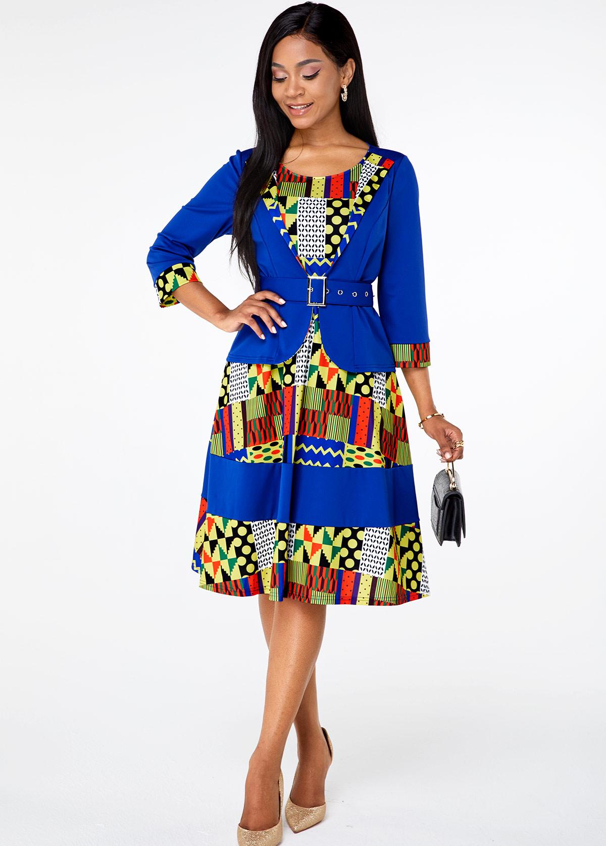 ROTITA Round Neck Buckle Detail Geometric Print Dress