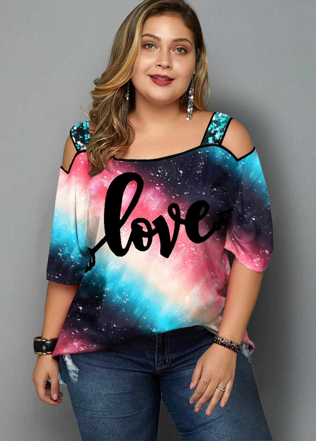 ROTITA Plus Size Sequin Strap Letter Print T Shirt