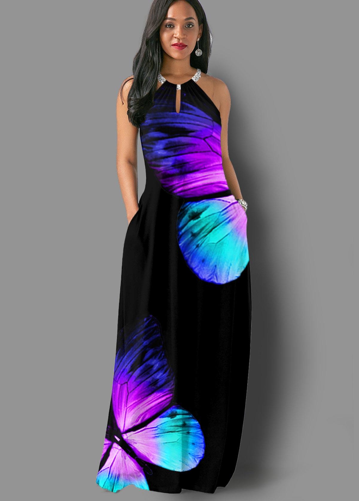ROTITA Bib Neck Side Pocket Butterfly Print Maxi Dress