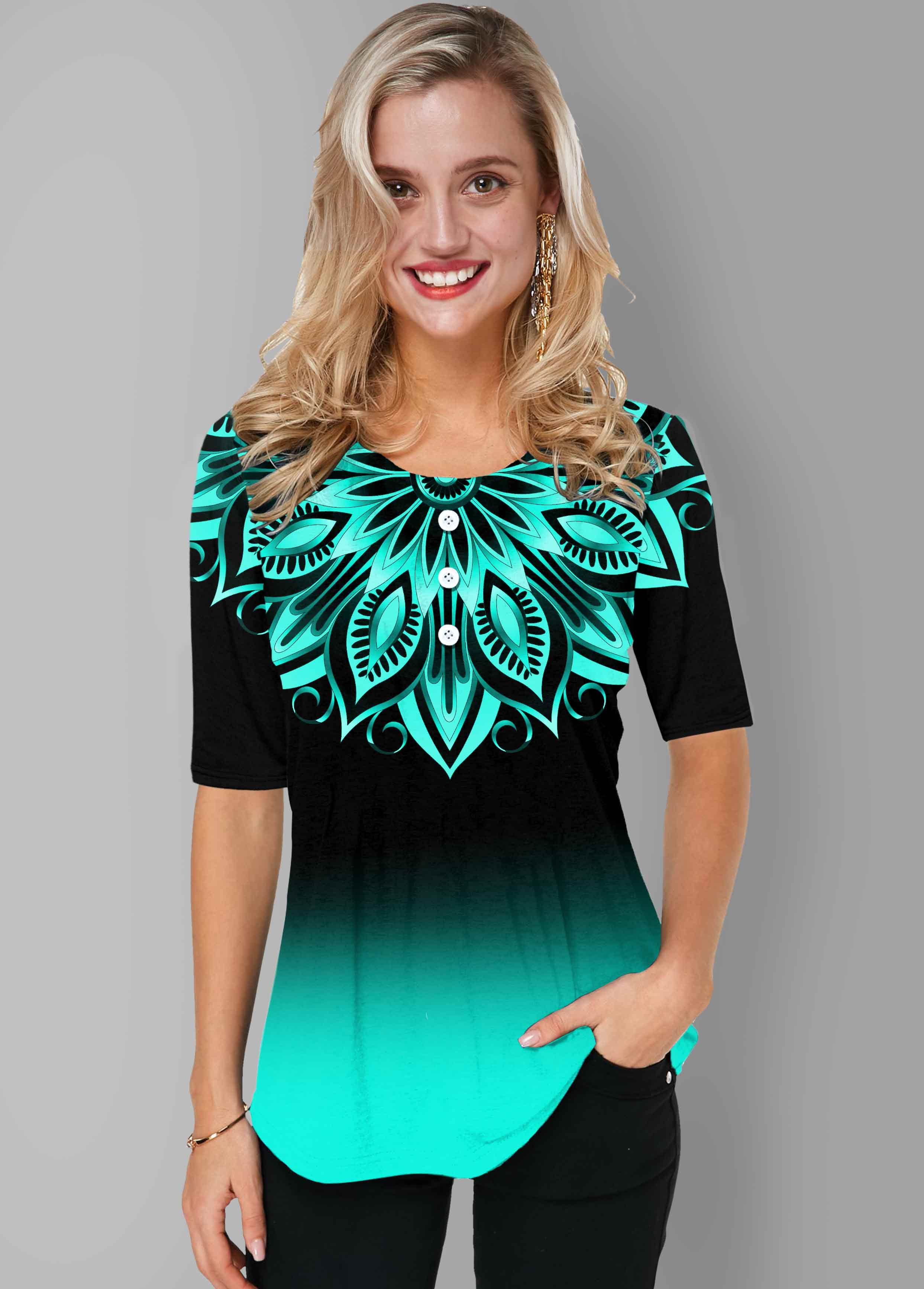 ROTITA Round Neck Tribal Print Ombre T Shirt