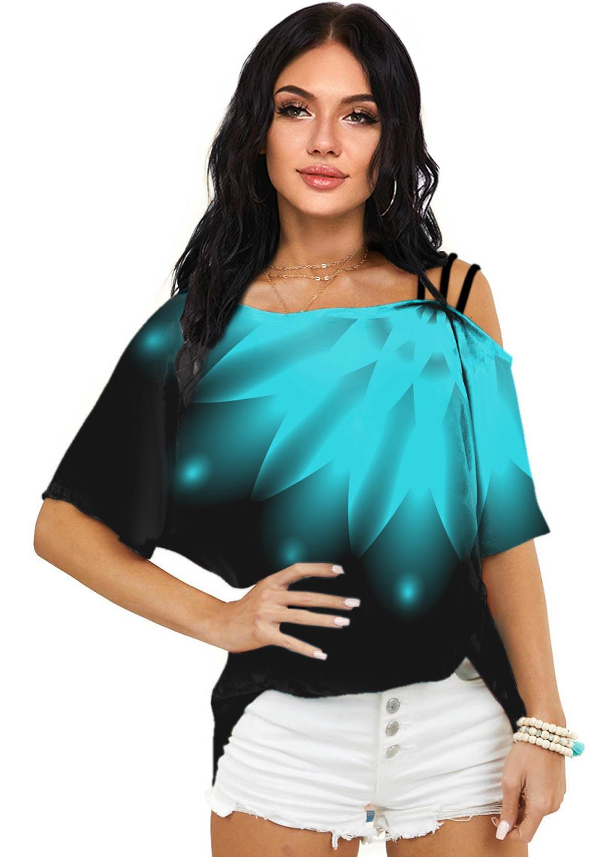 ROTITA Printed Half Sleeve One Shoulder T Shirt