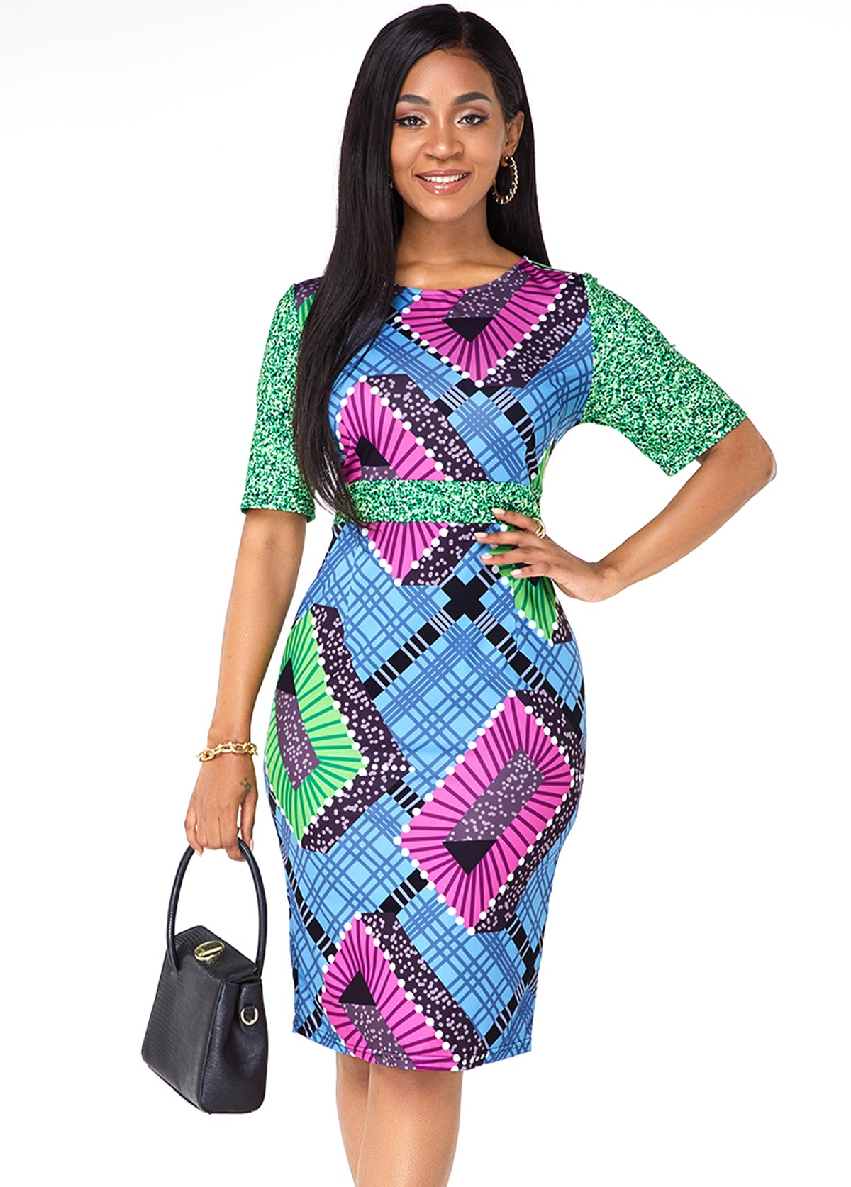 ROTITA Tribal Print Half Sleeve Round Neck Dress
