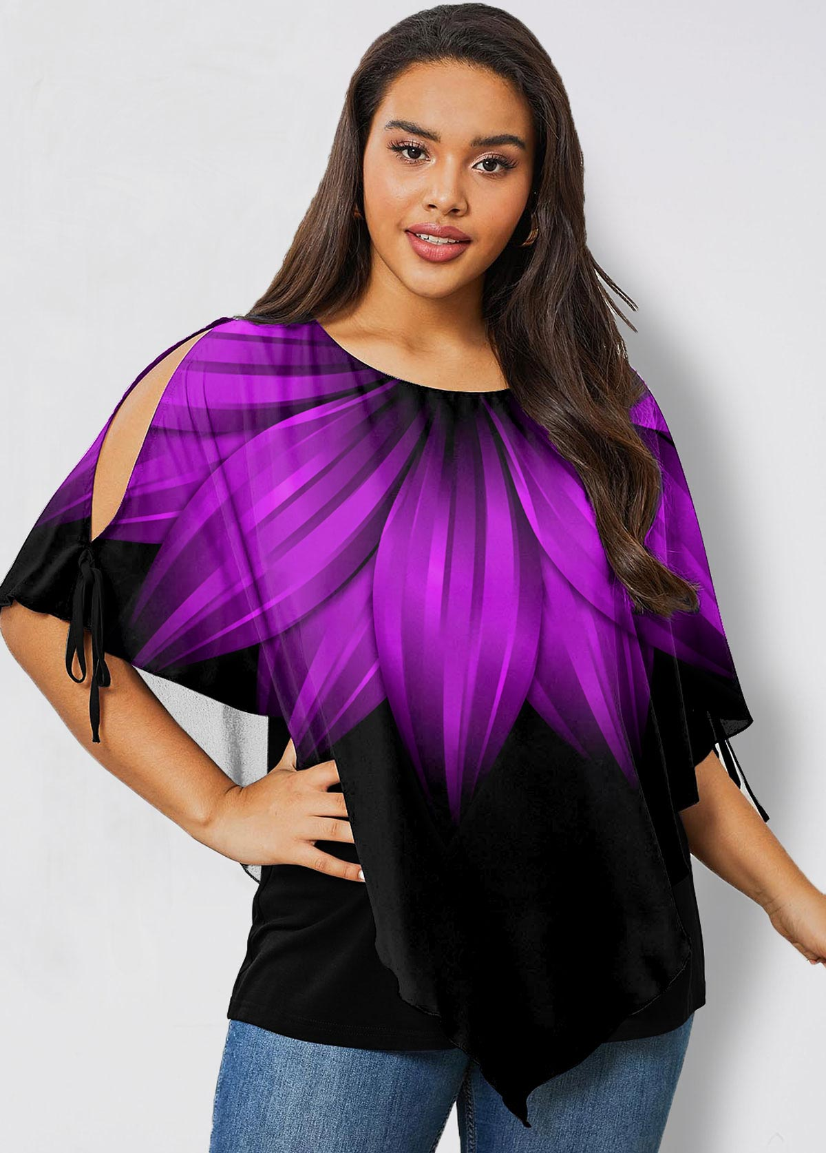 ROTITA Plus Size Ombre Printed Cold Shoulder T Shirt