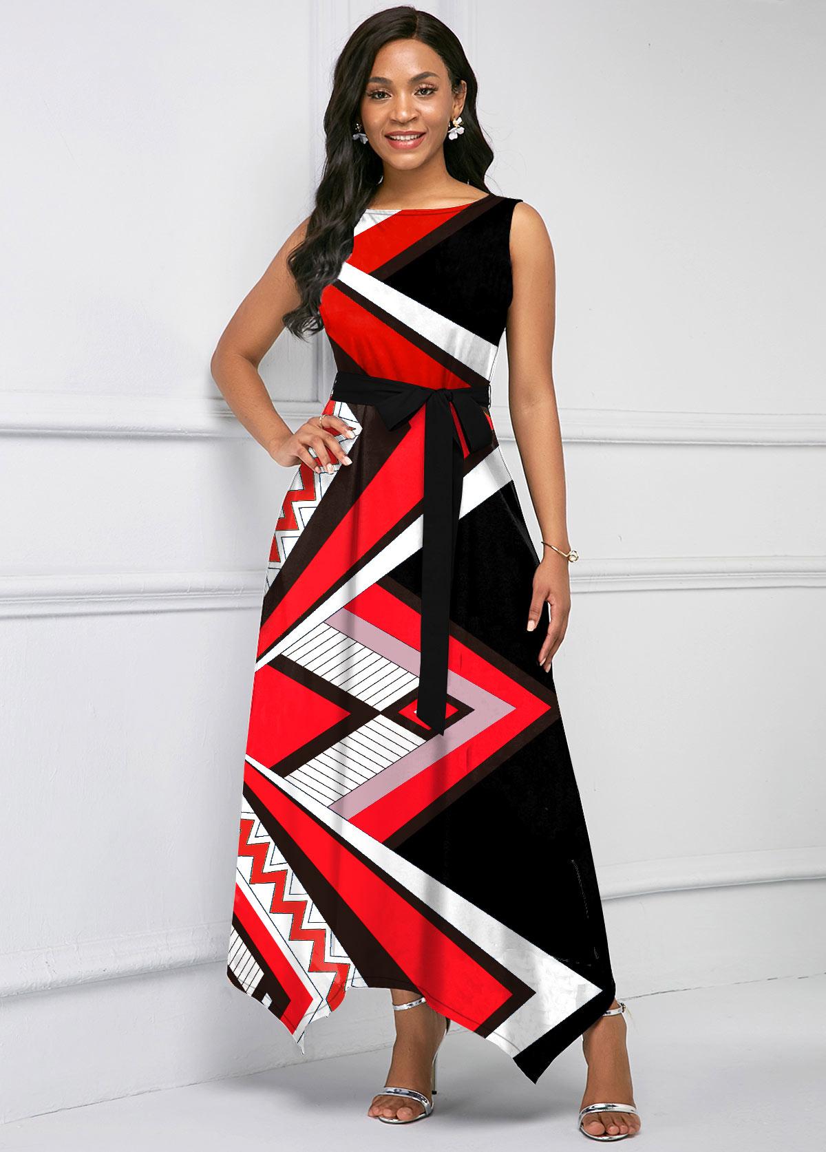 ROTITA Asymmetric Hem Geometric Print Belted Maxi Dress
